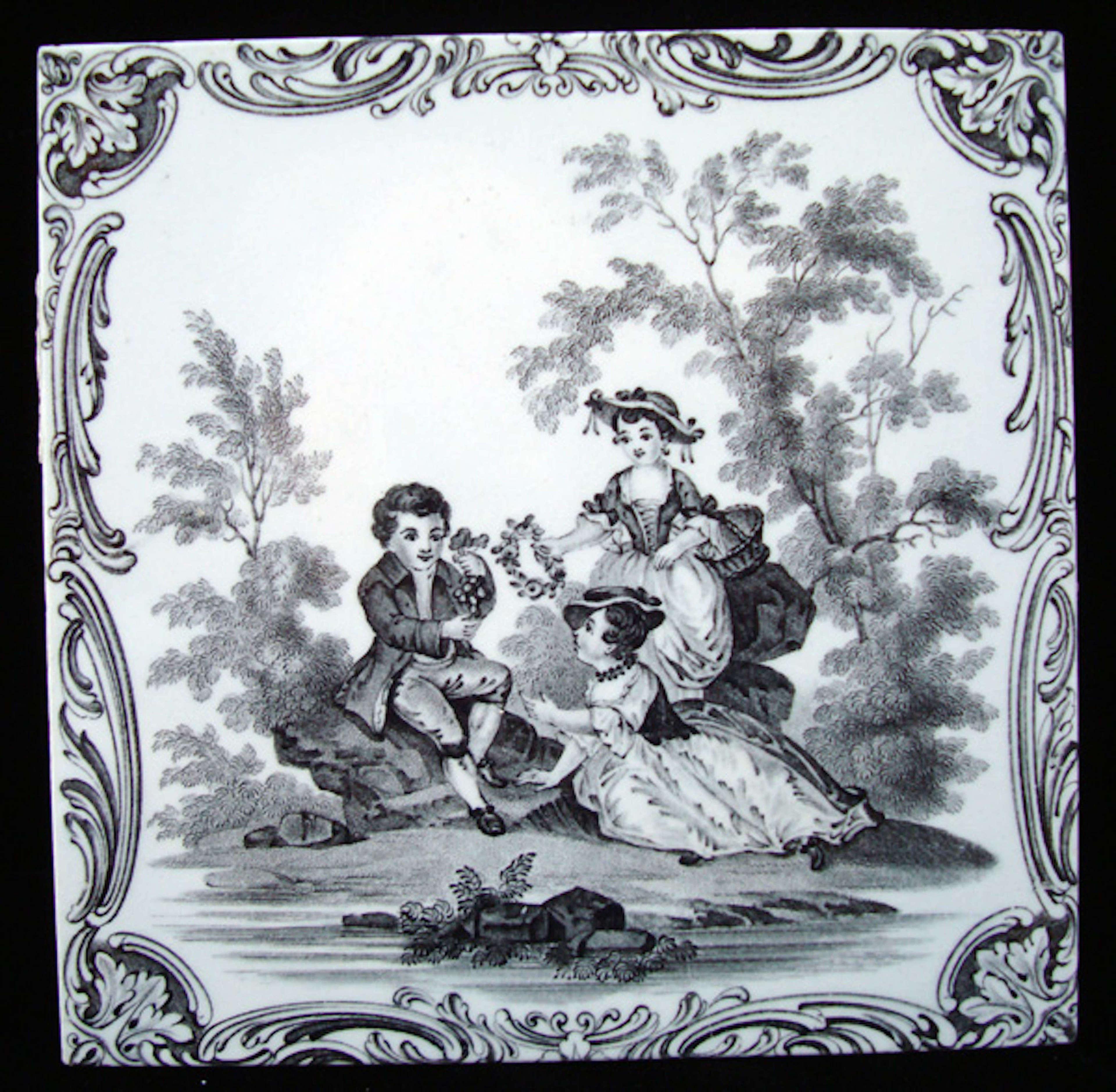Minton Classical Watteau Attention Tile ~ 1880