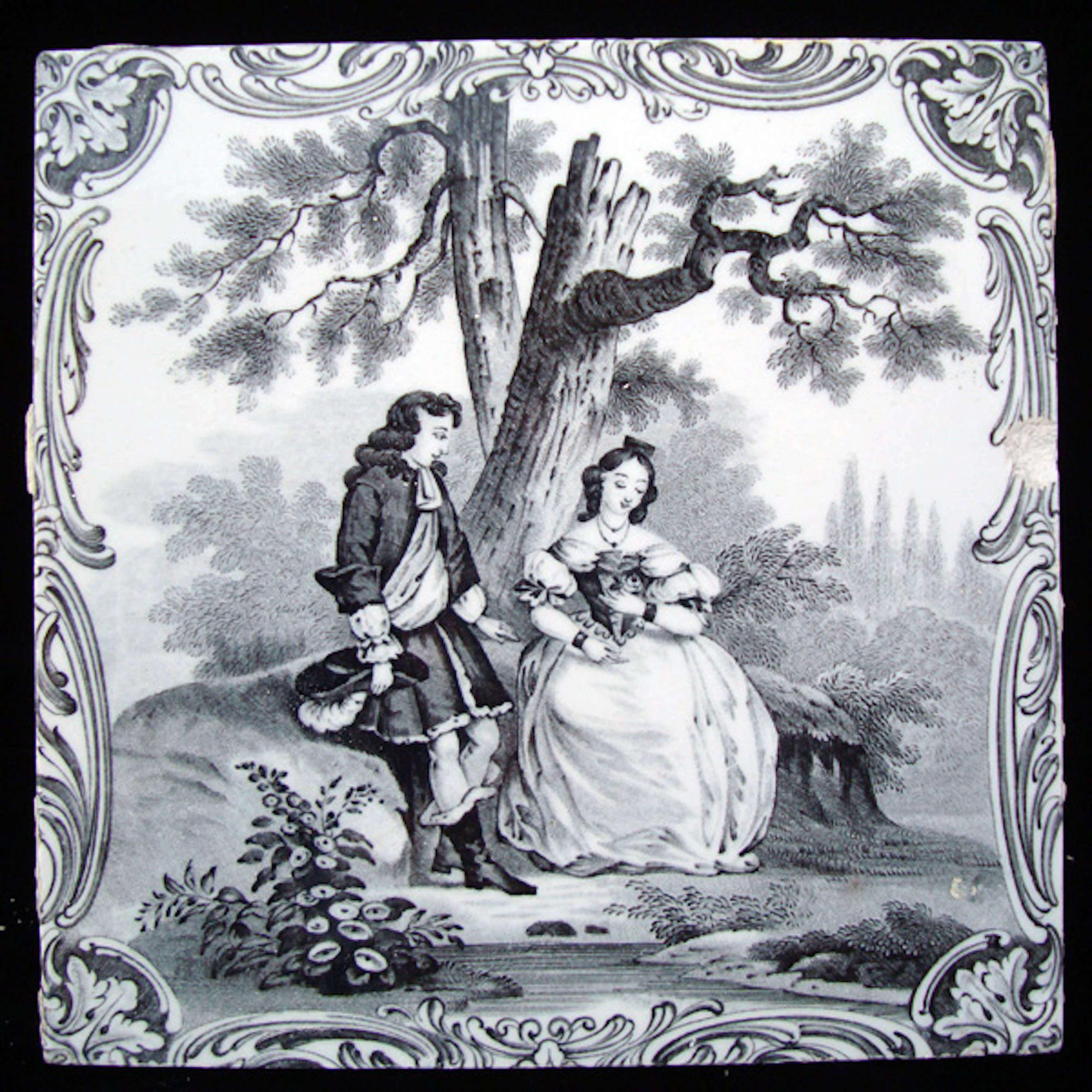 Minton Classical Watteau Lovers Tile ~ 1880