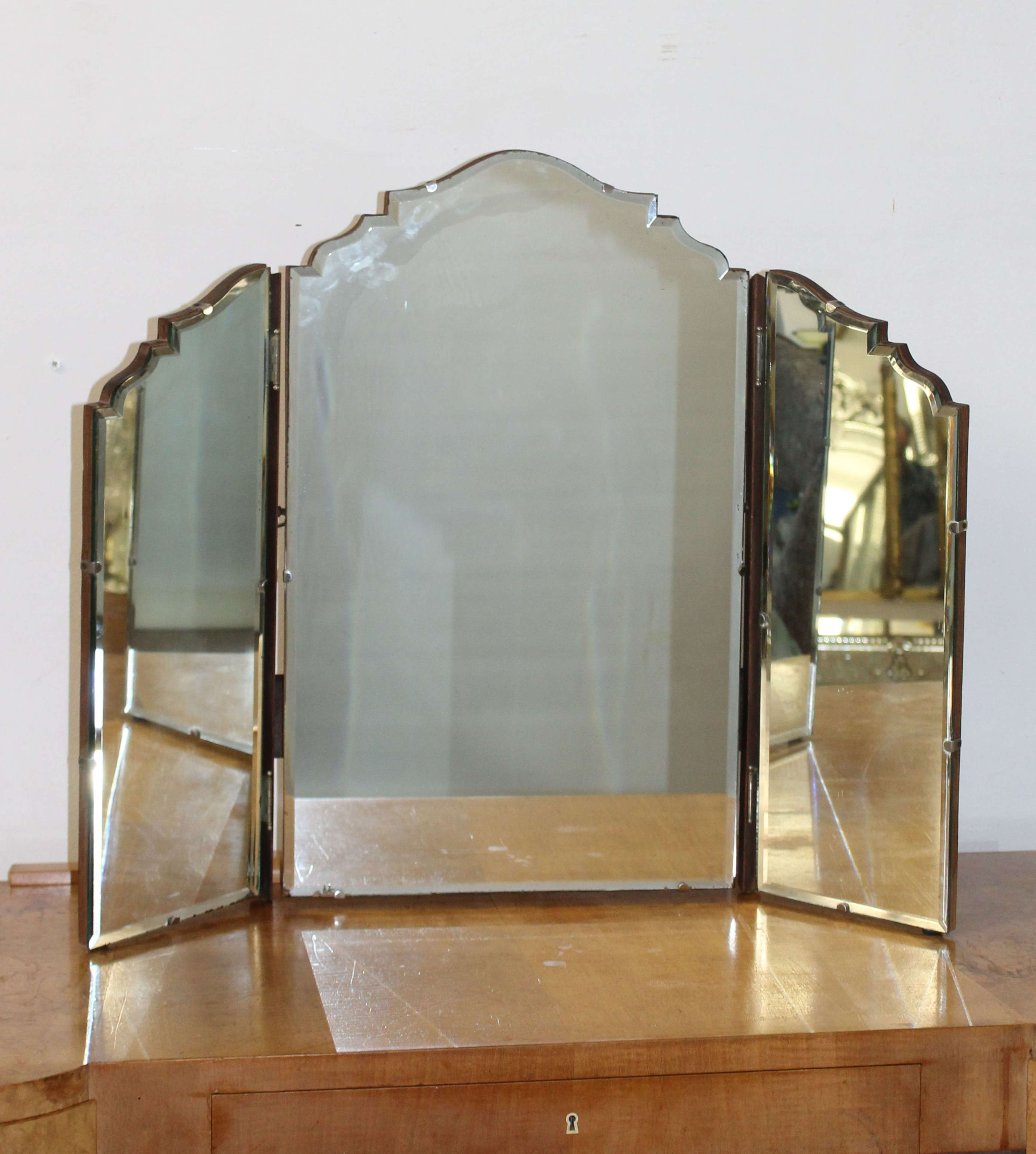 Vintage triple dressing table mirror with bevelled glass