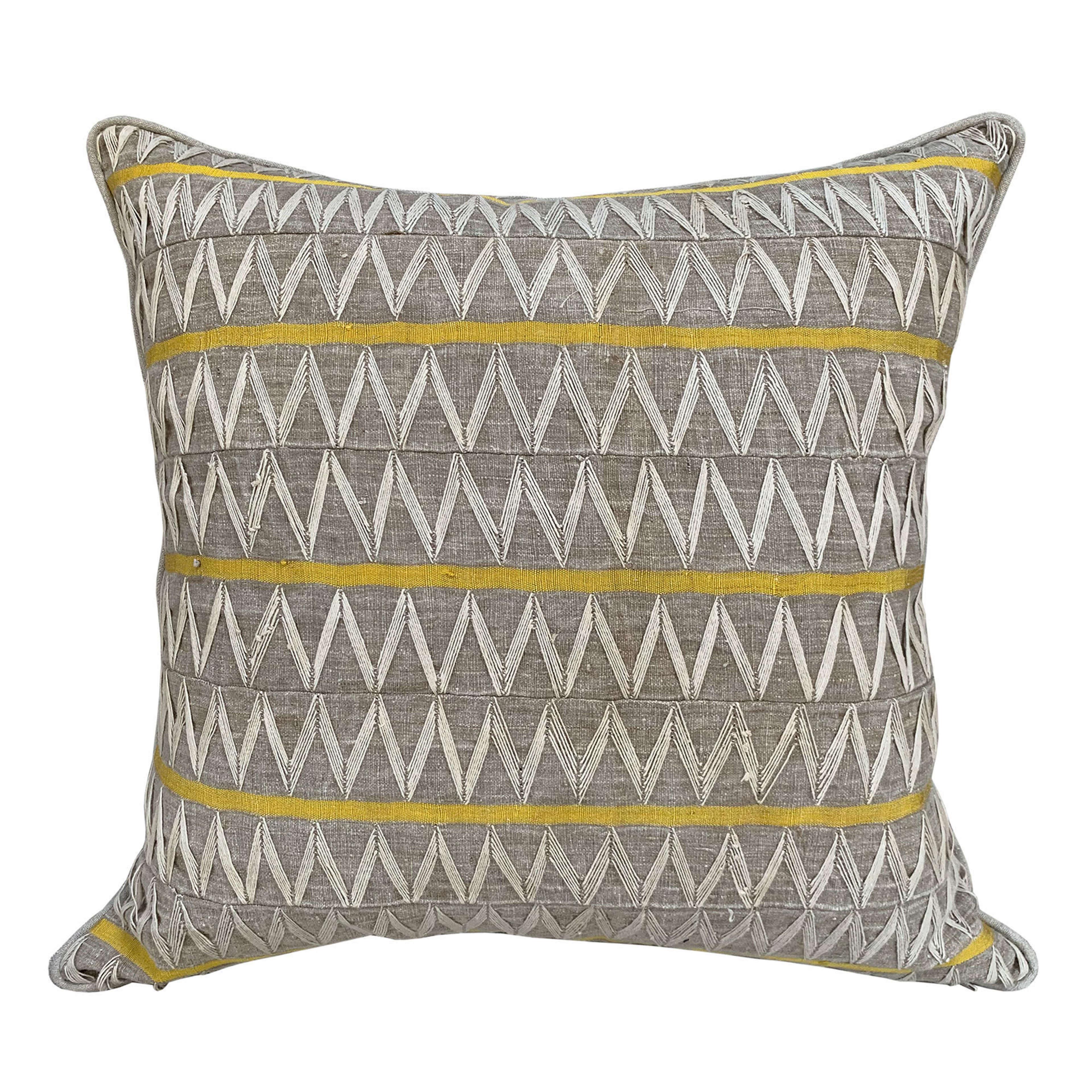 Yoruba Zig Zag cushions with yellow stripe
