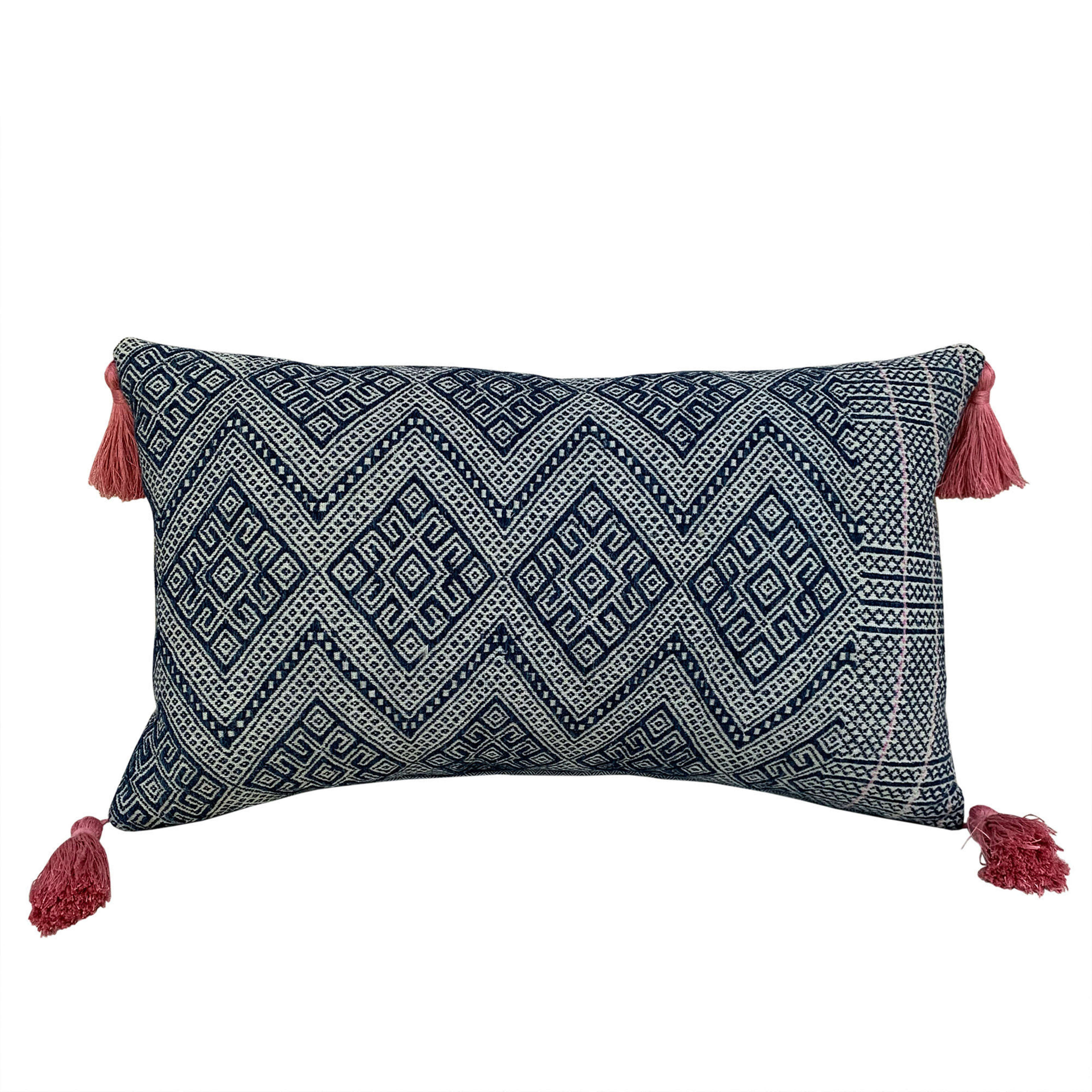 Indigo Zhuang cushions with pink tassels