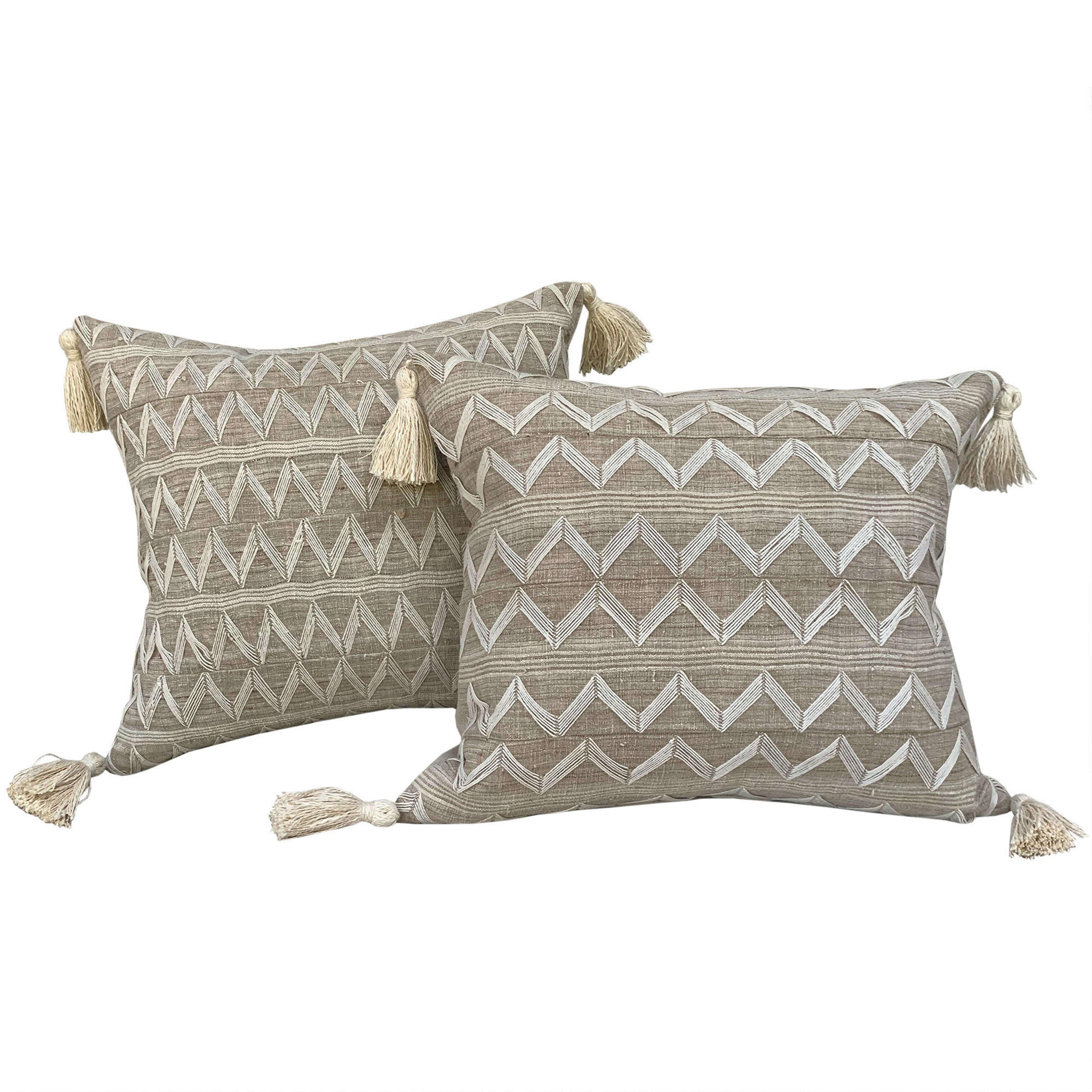 Beige Yoruba zig zag cushions