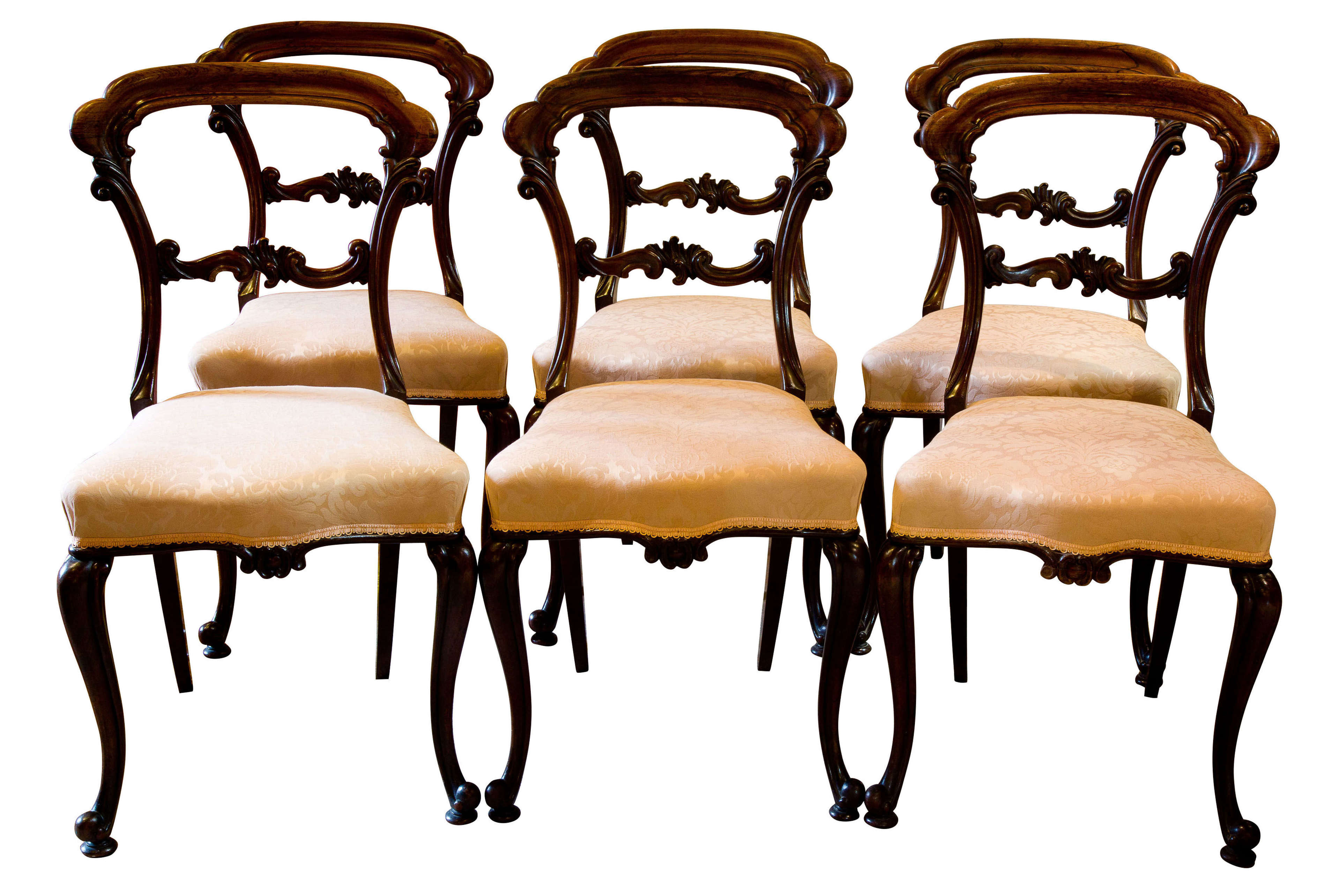Set of 6 Victorian Solid Rosewood Chairs c 1850