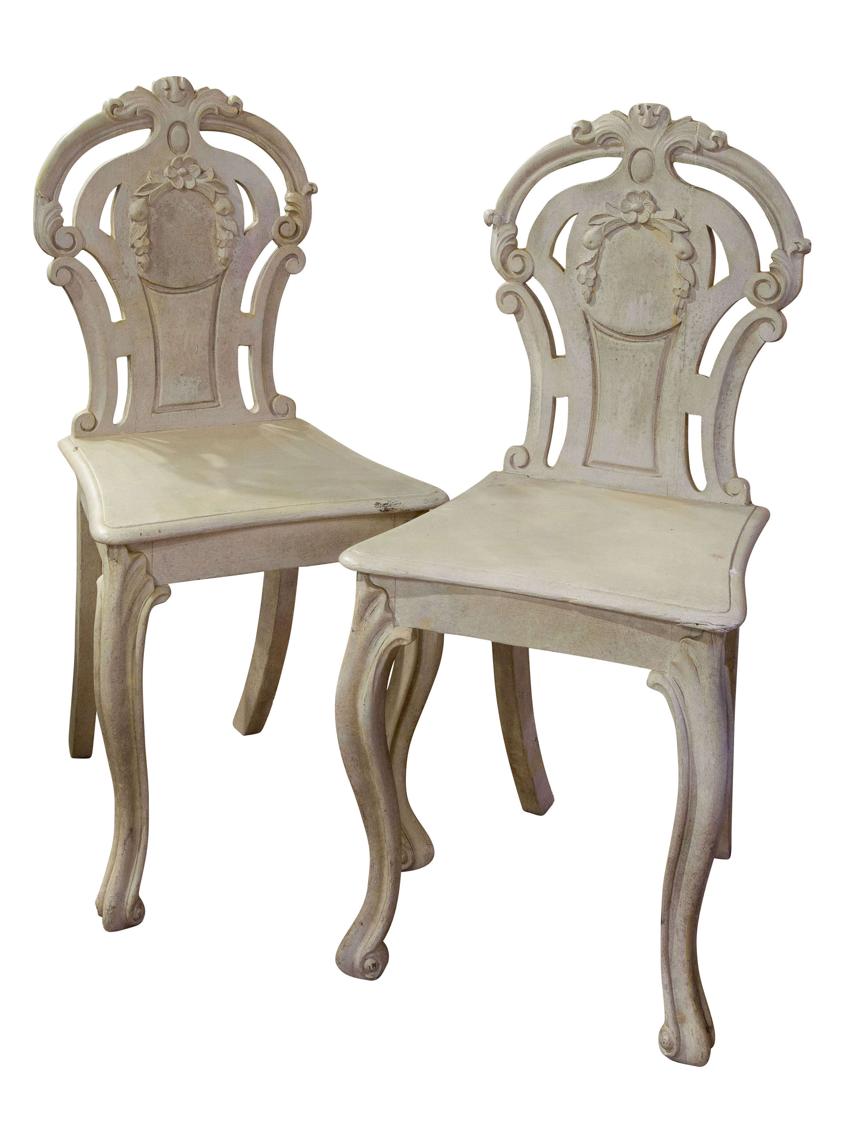 Pair of Victorian Painted Hall Chairs