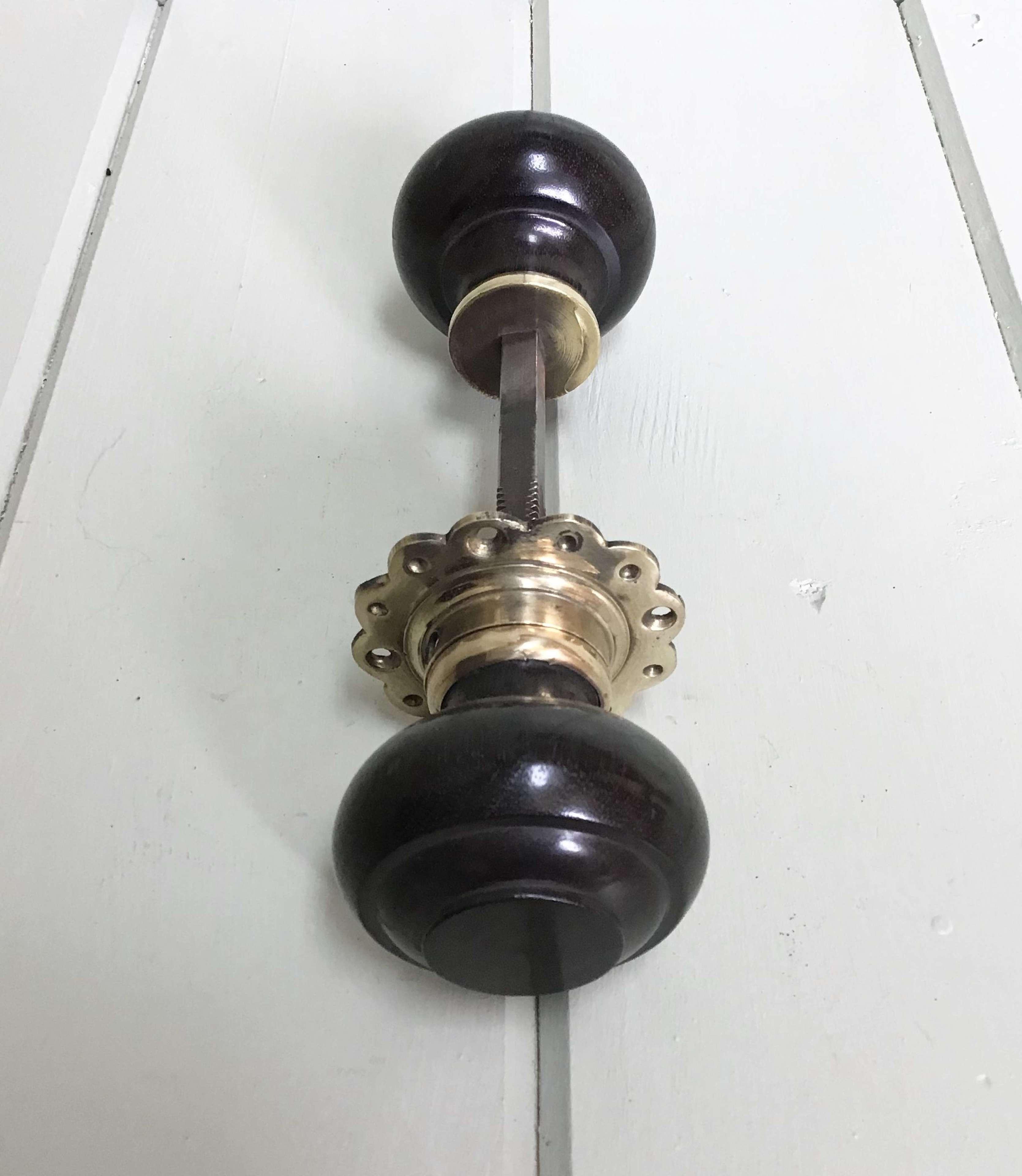 Genuine Pair of Edwardian/1920's Rosewood & Brass Door Knobs
