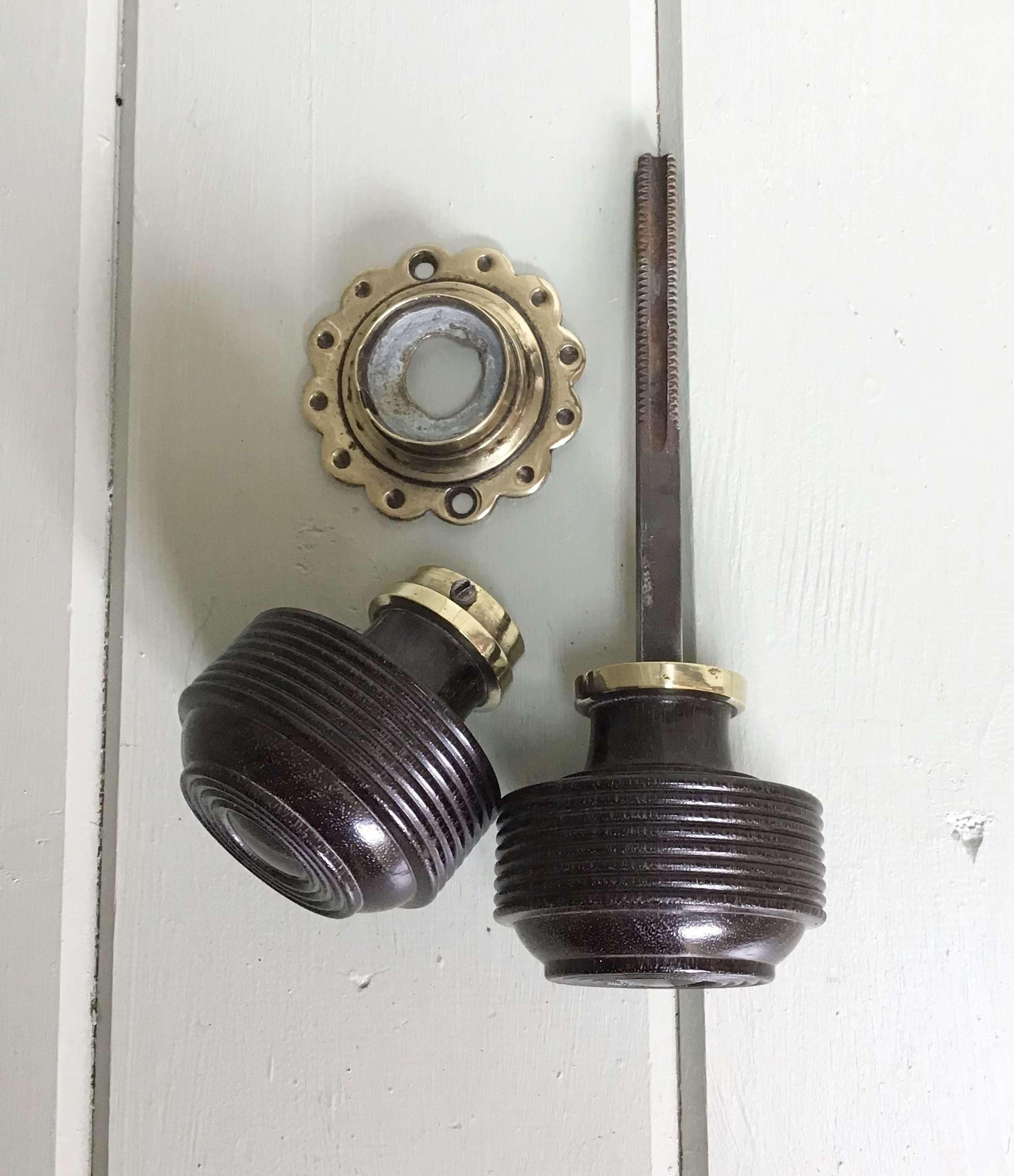 An Original Pair of Early 20th Century Rosewood & Brass Door Knobs