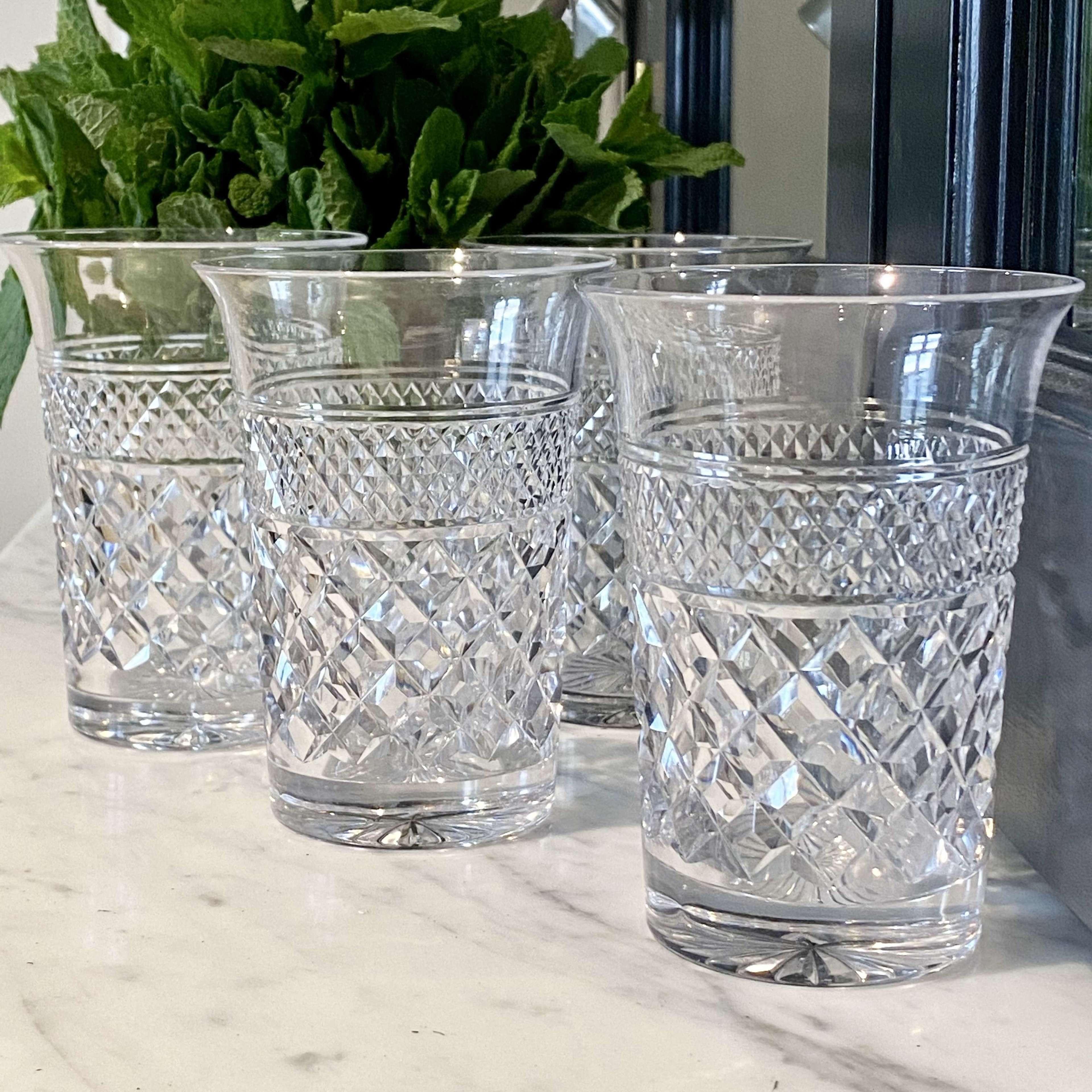 Four English crystal flared rim tumblers