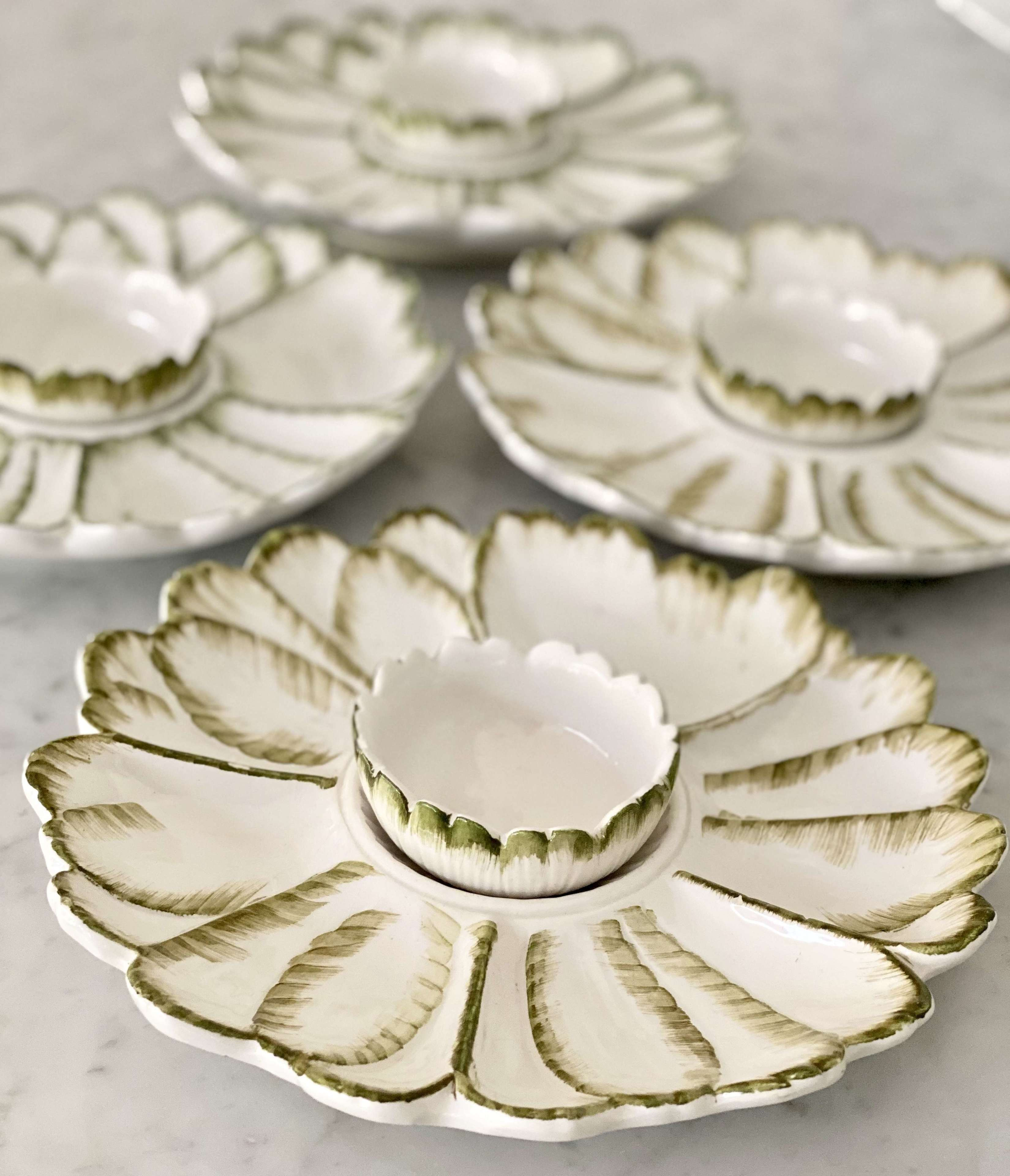 Rustic Italian ceramic crudités bowl sets Circa 1950
