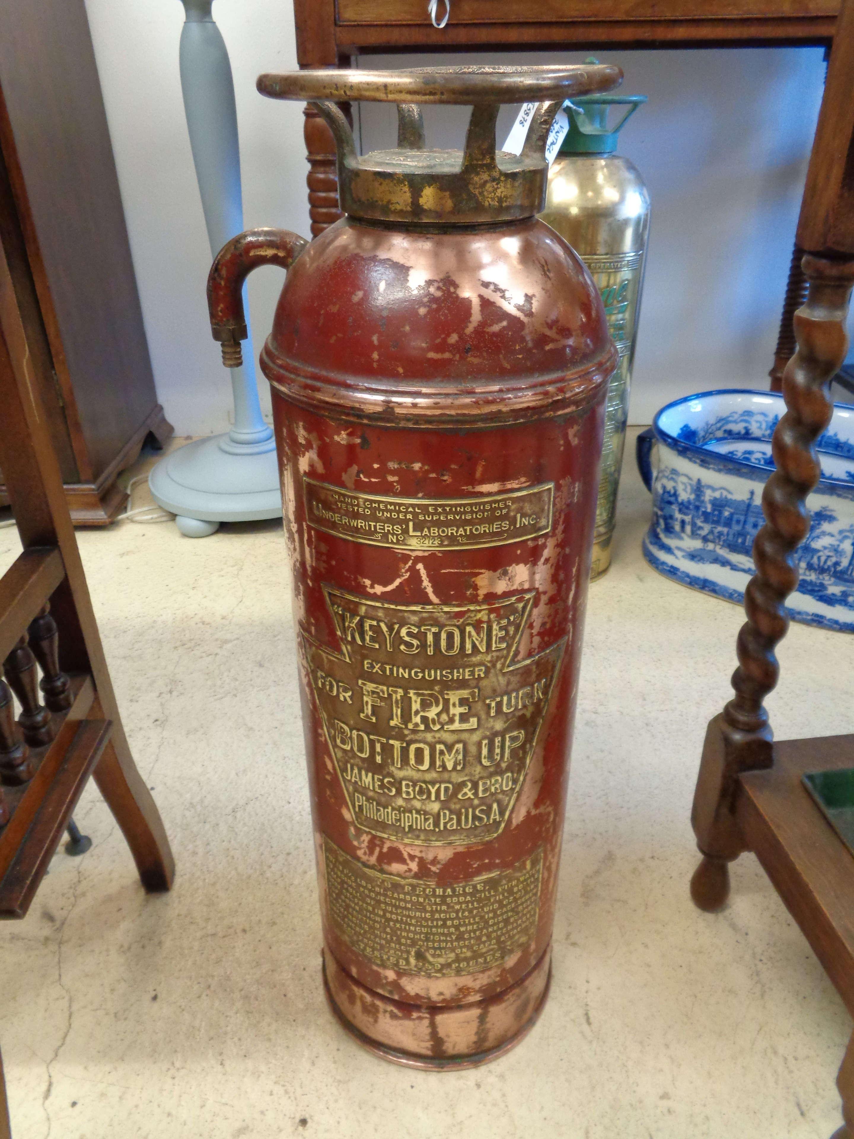 Vintage American 'Keystone' Fire Extinguisher