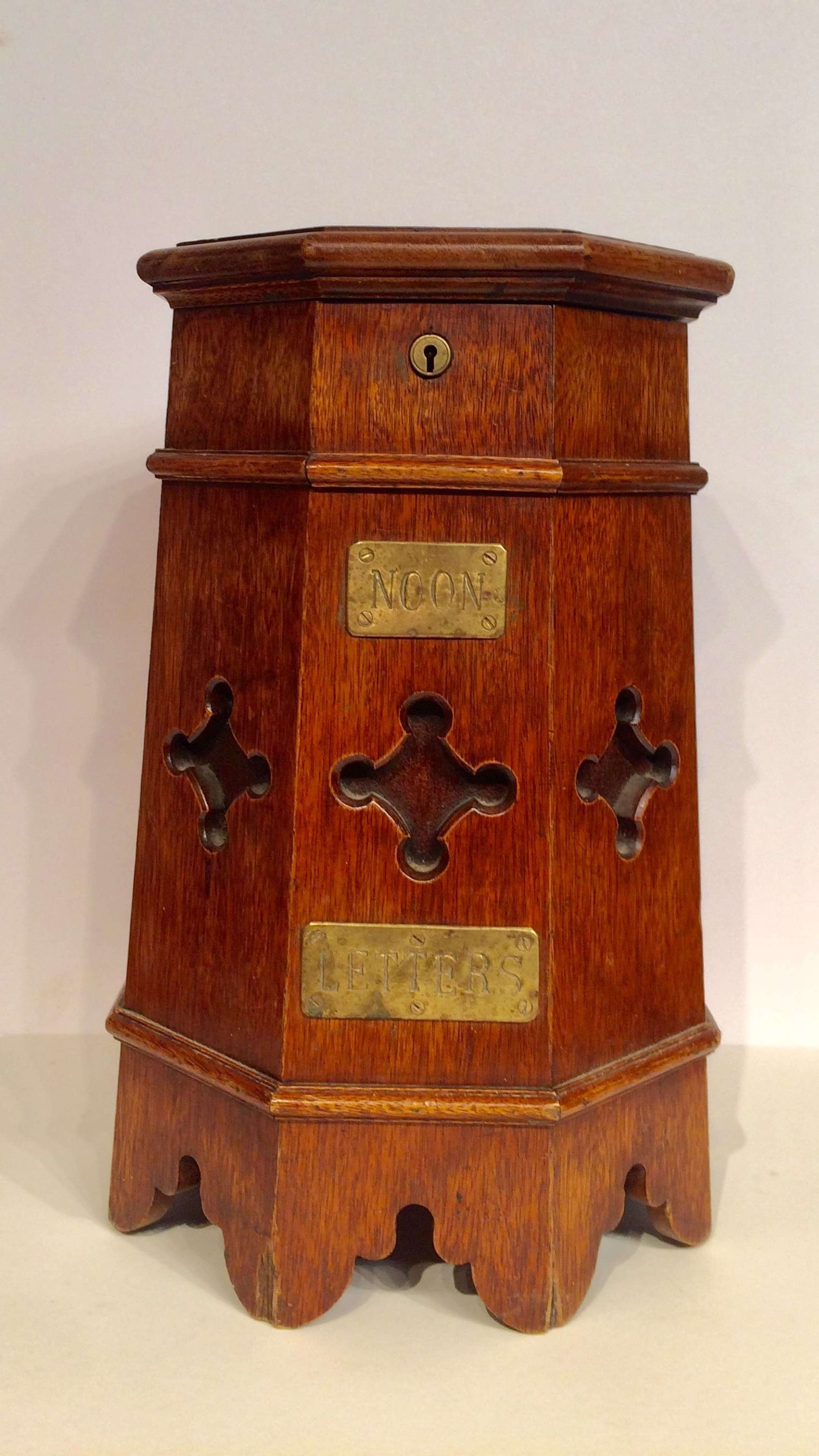 Victorian Gothic octagonal oak post box.