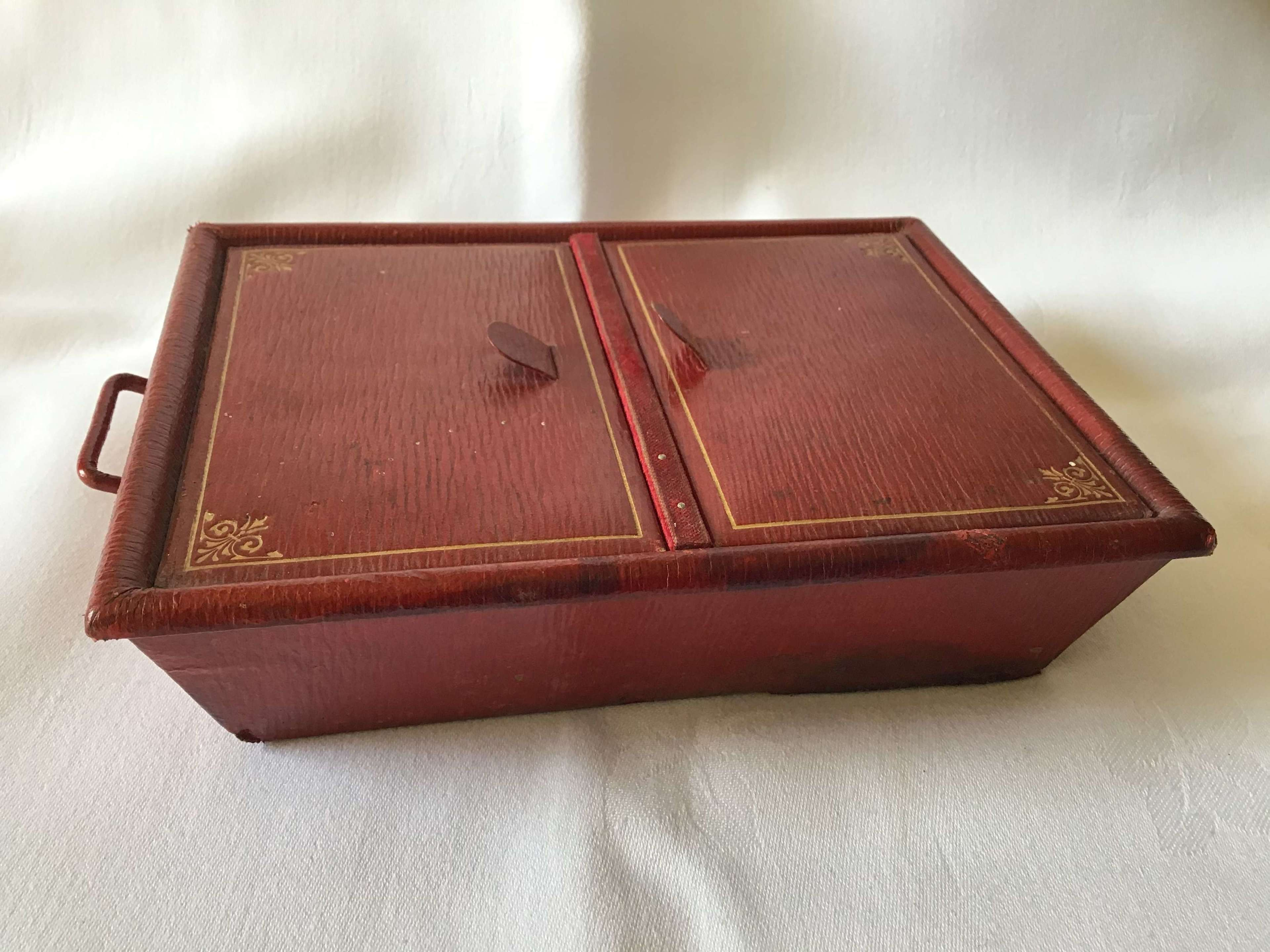 Red Leather Sewing Box