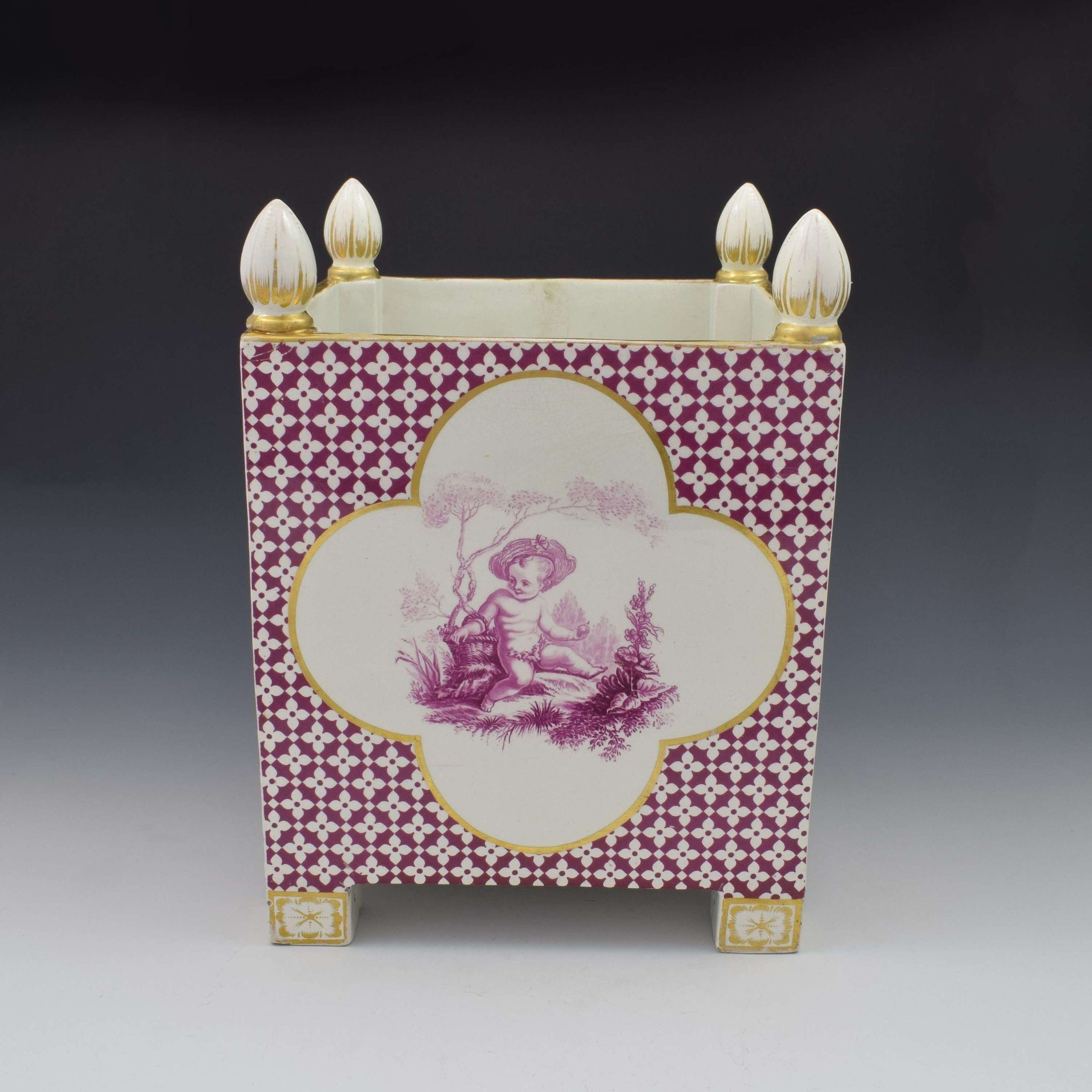 Large Victorian Minton Sevres Style Square Jardiniere