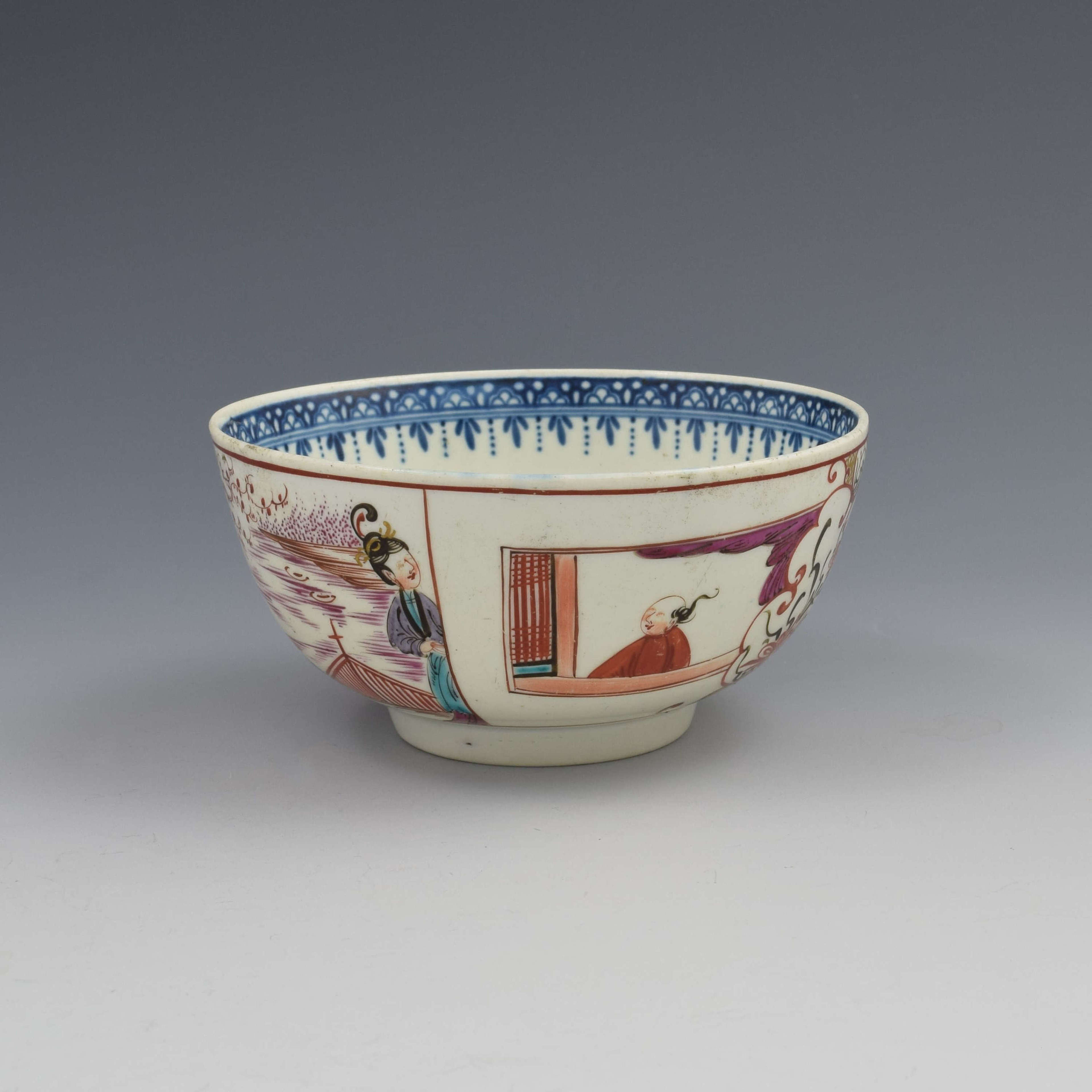 First Period Worcester Porcelain Boy In The Window Slop Bowl