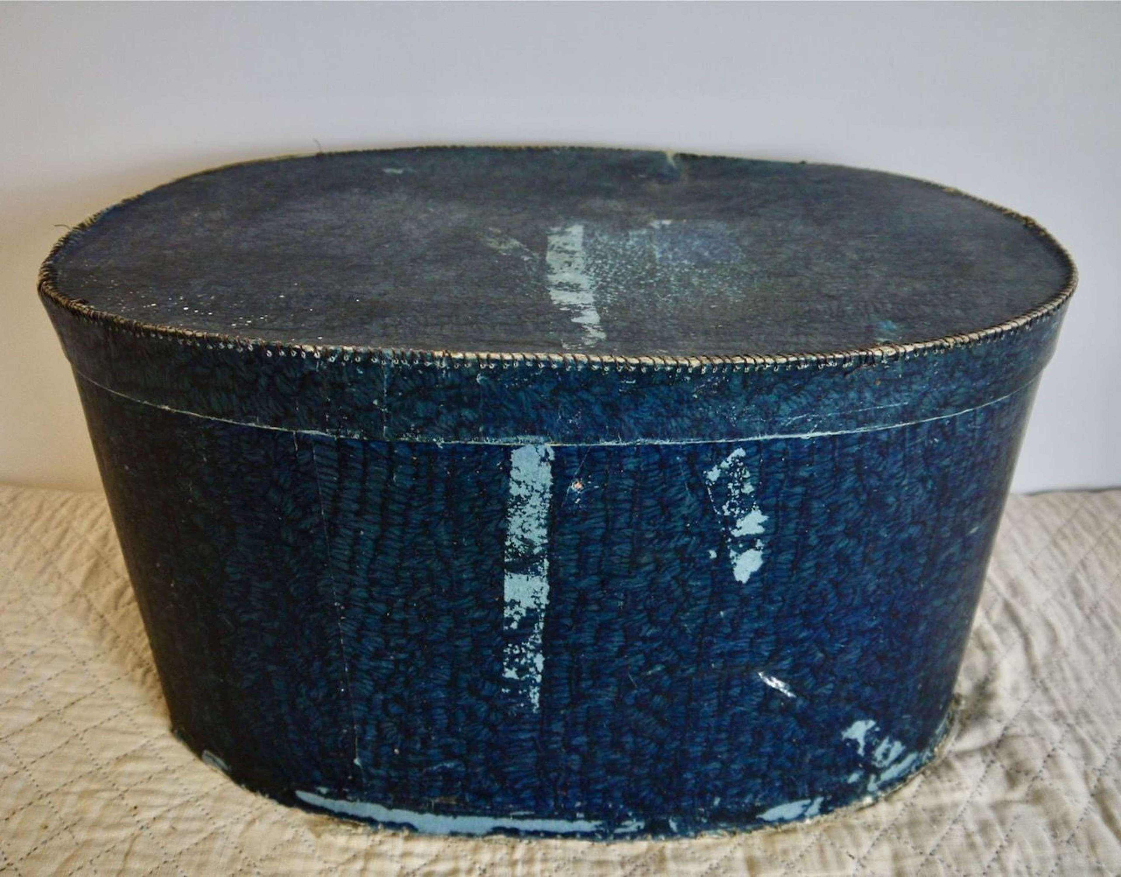 Blue Oval hat Box French 19th Century