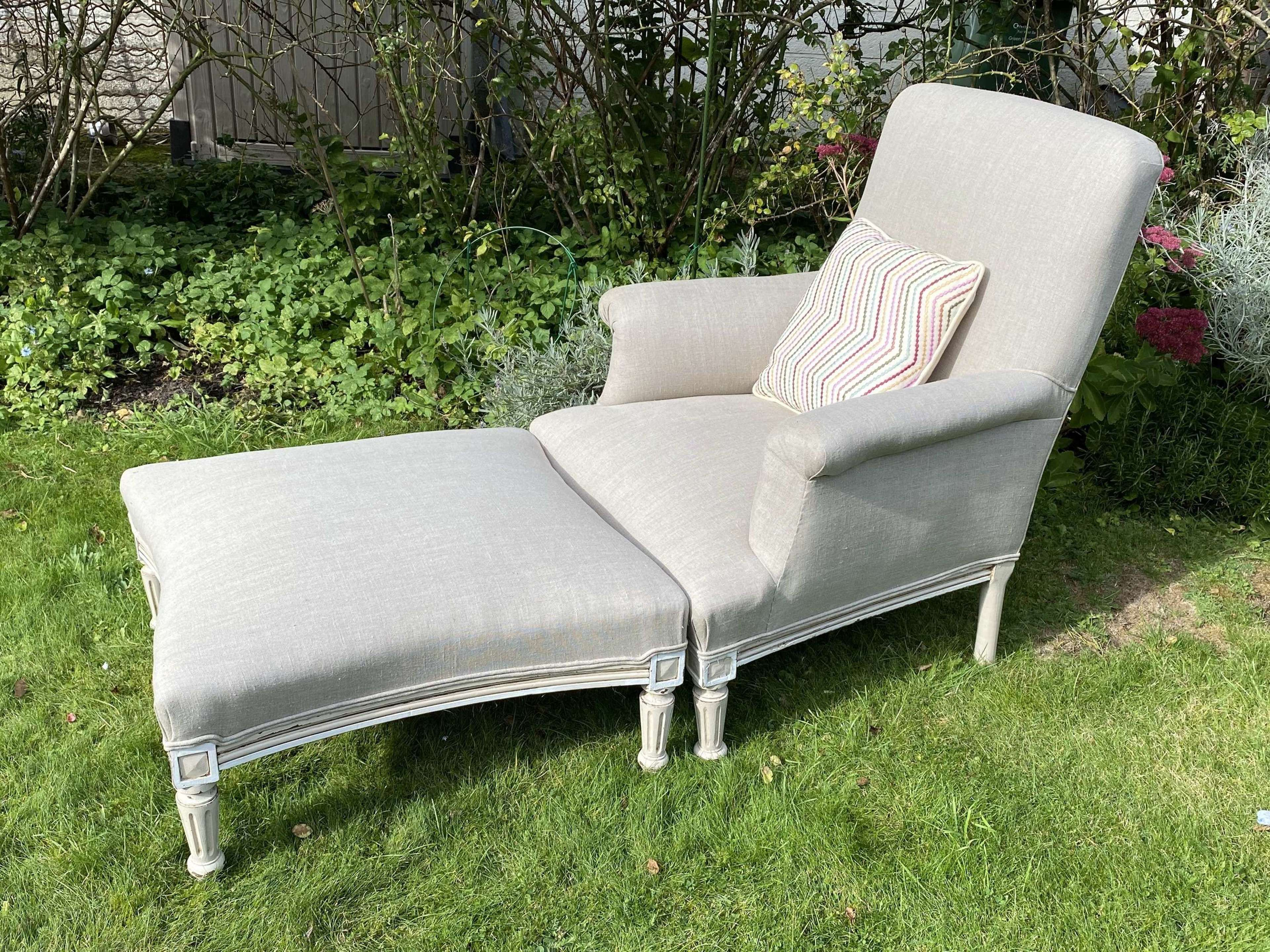 Painted armchair and stool in grey linen