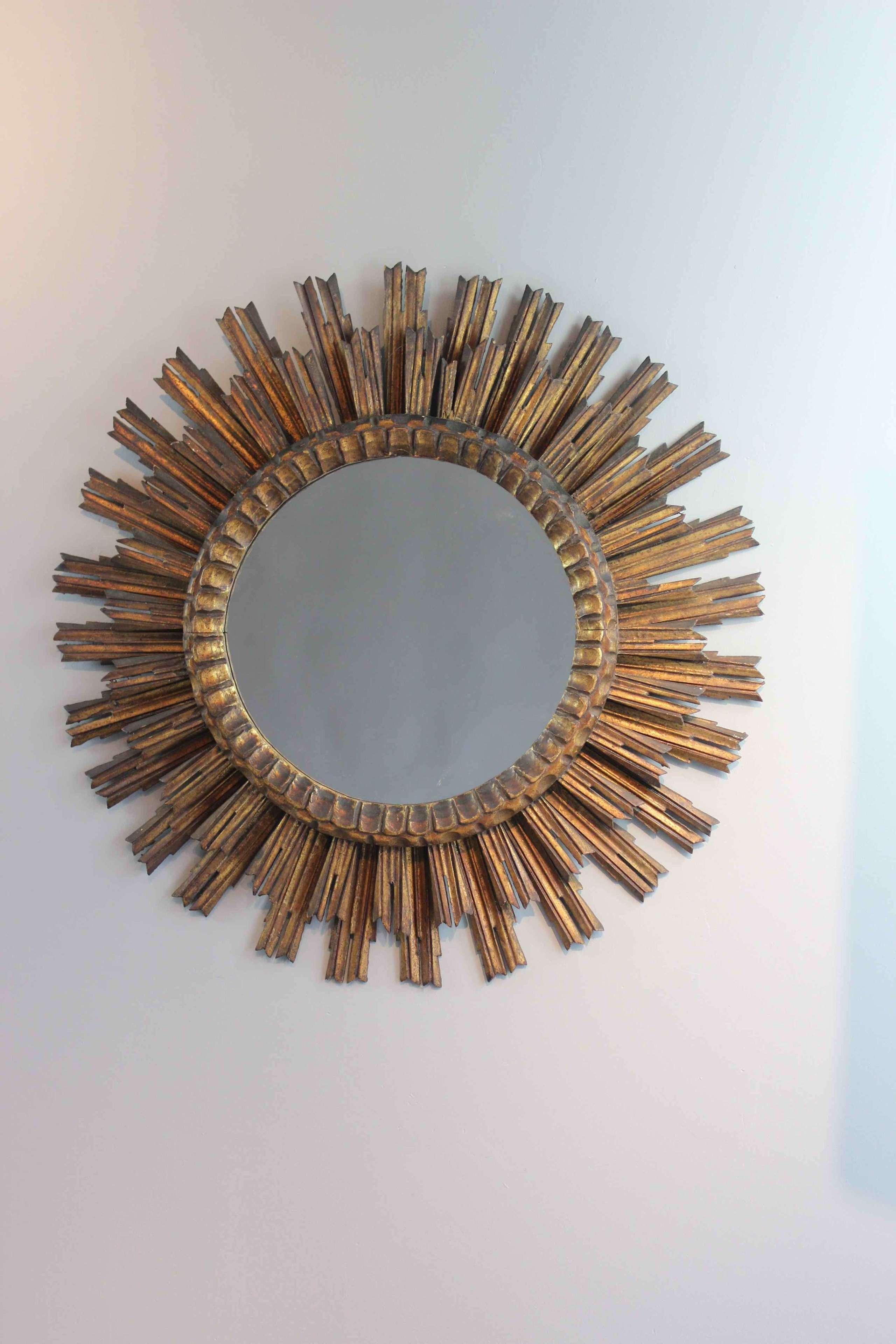 Fabulous C1930s double sunburst  giltwood  mirror