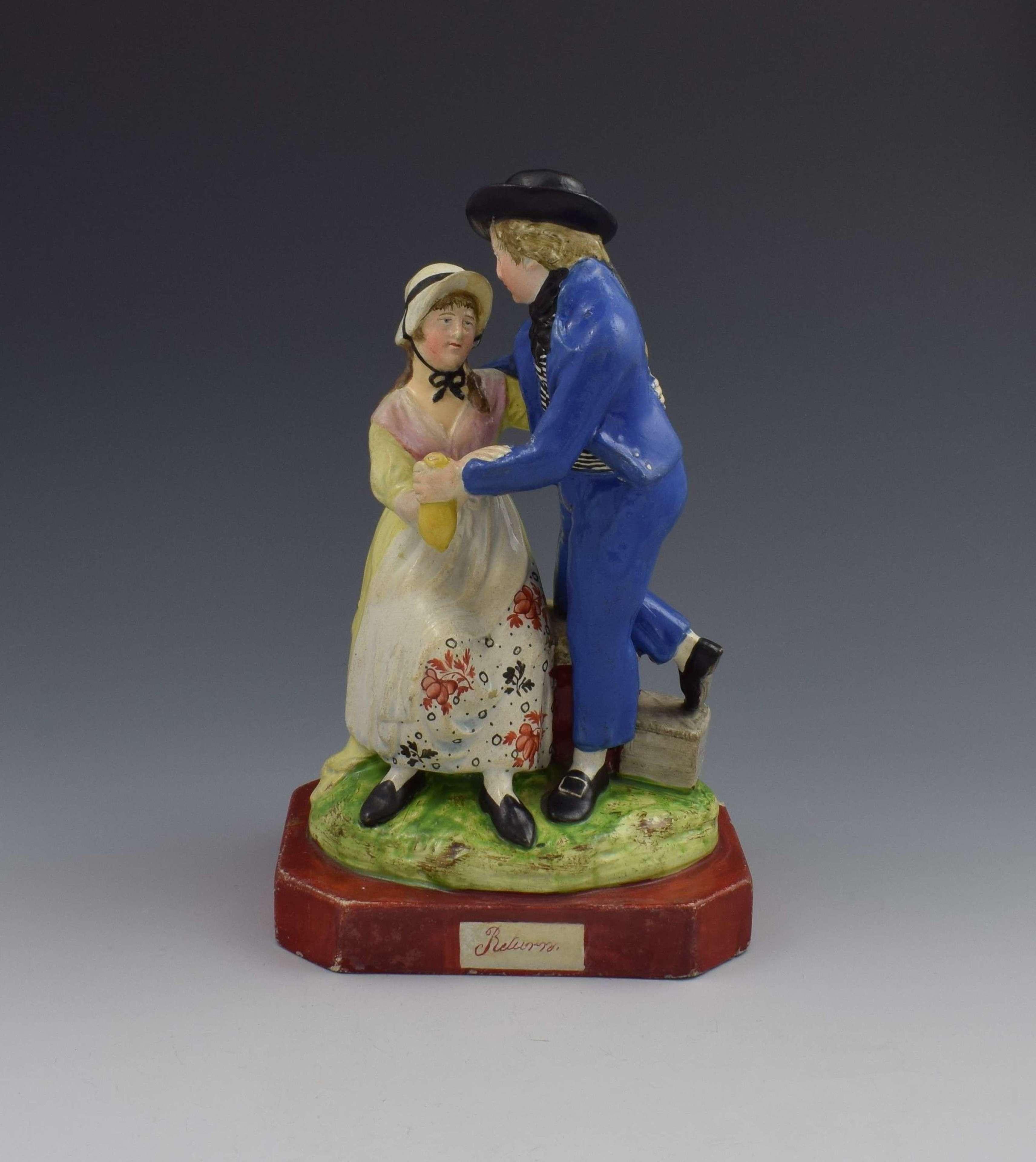 Early 19th Century Pearlware Marine Figure Group Sailor's Return