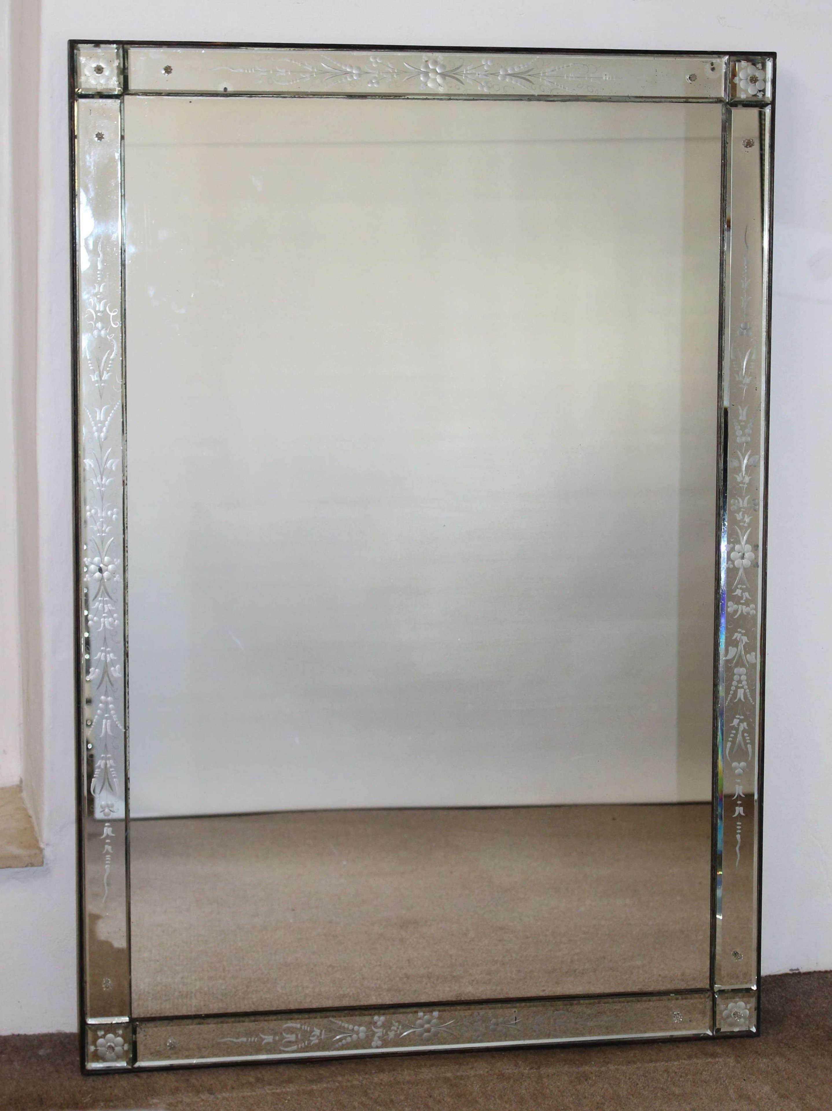 Large antique rectangular Venetian mirror