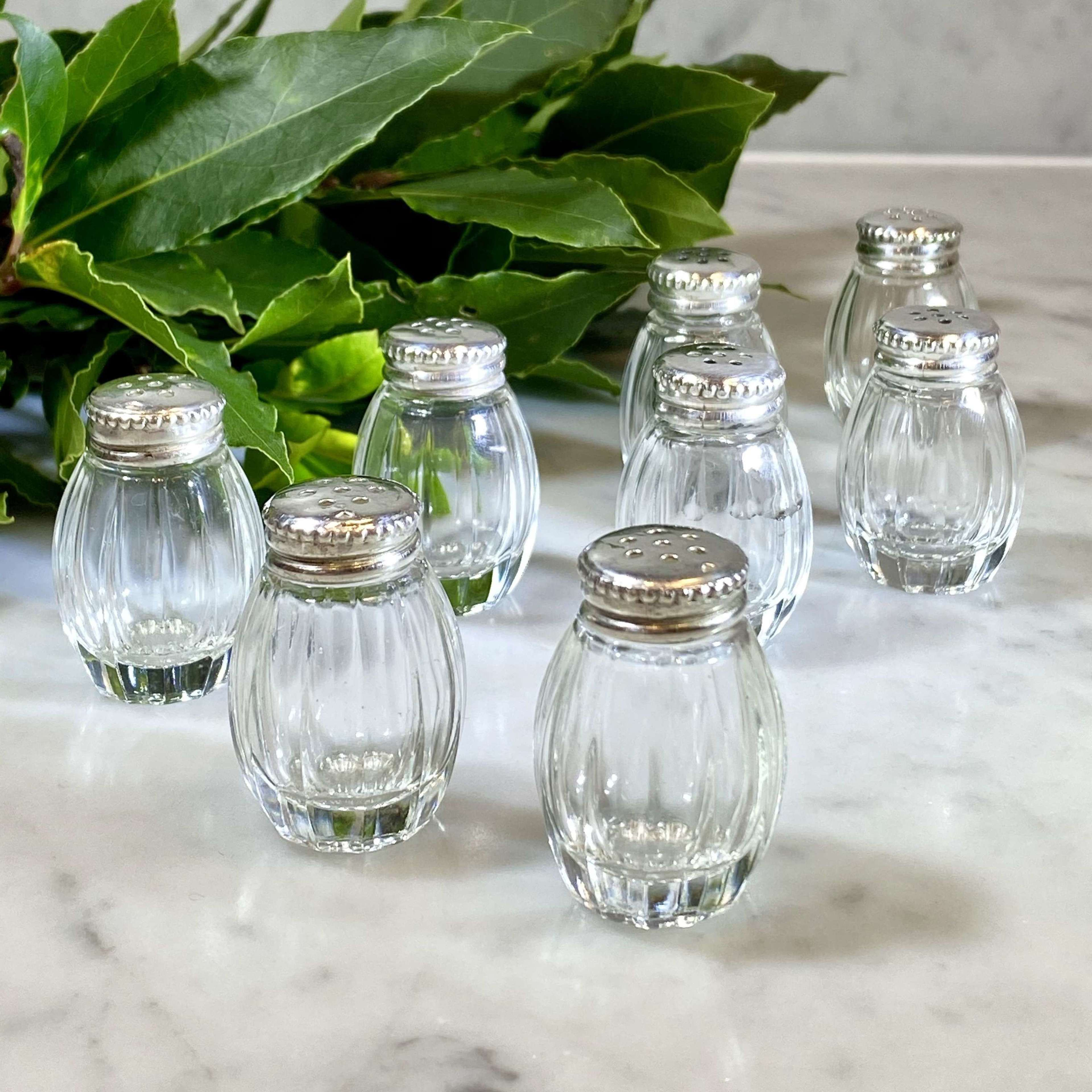 8 Individual Christofle Silver And Crystal Salt Or Pepper Shakers In Antique Glass Bottles
