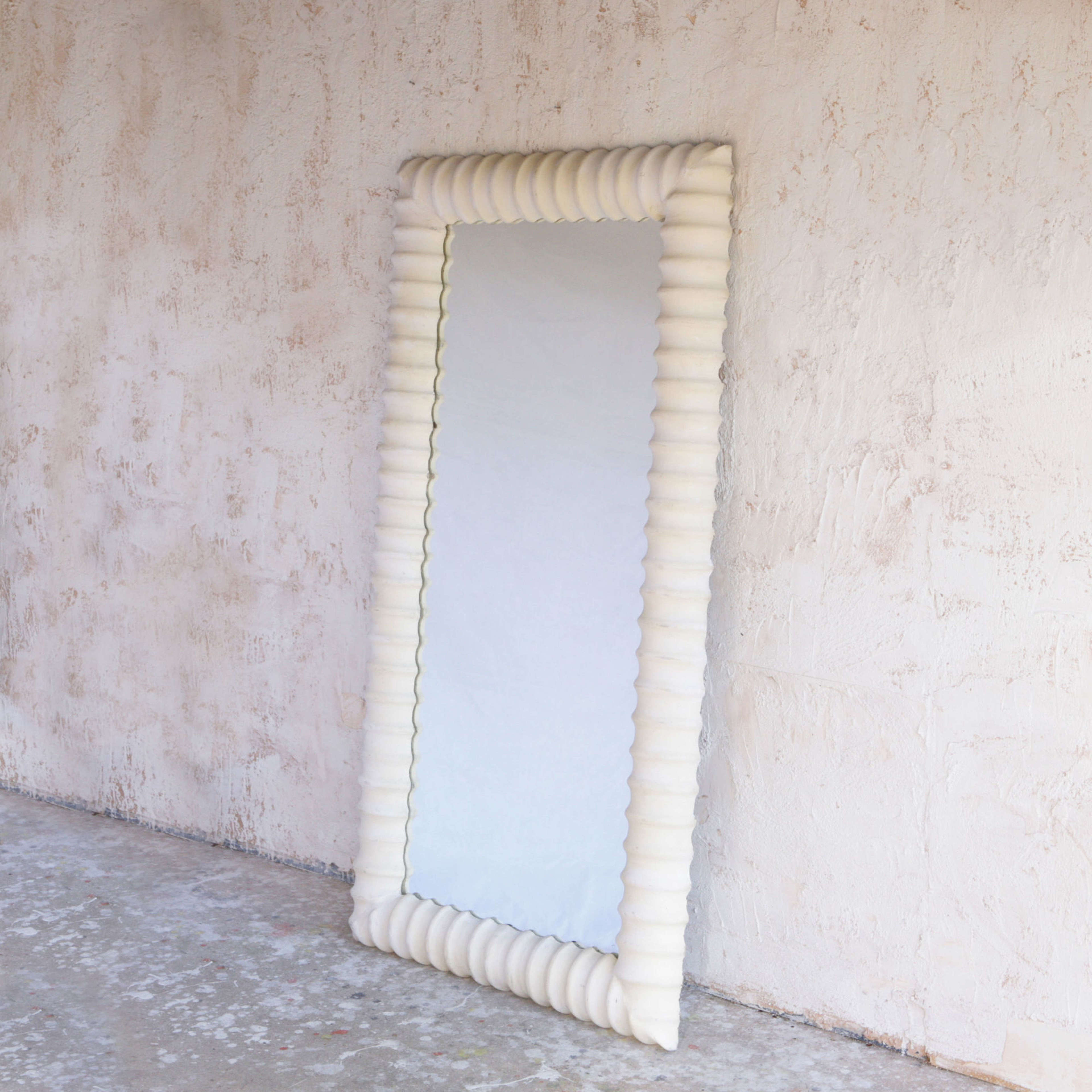 Unusual French late 20th century plaster mirror.