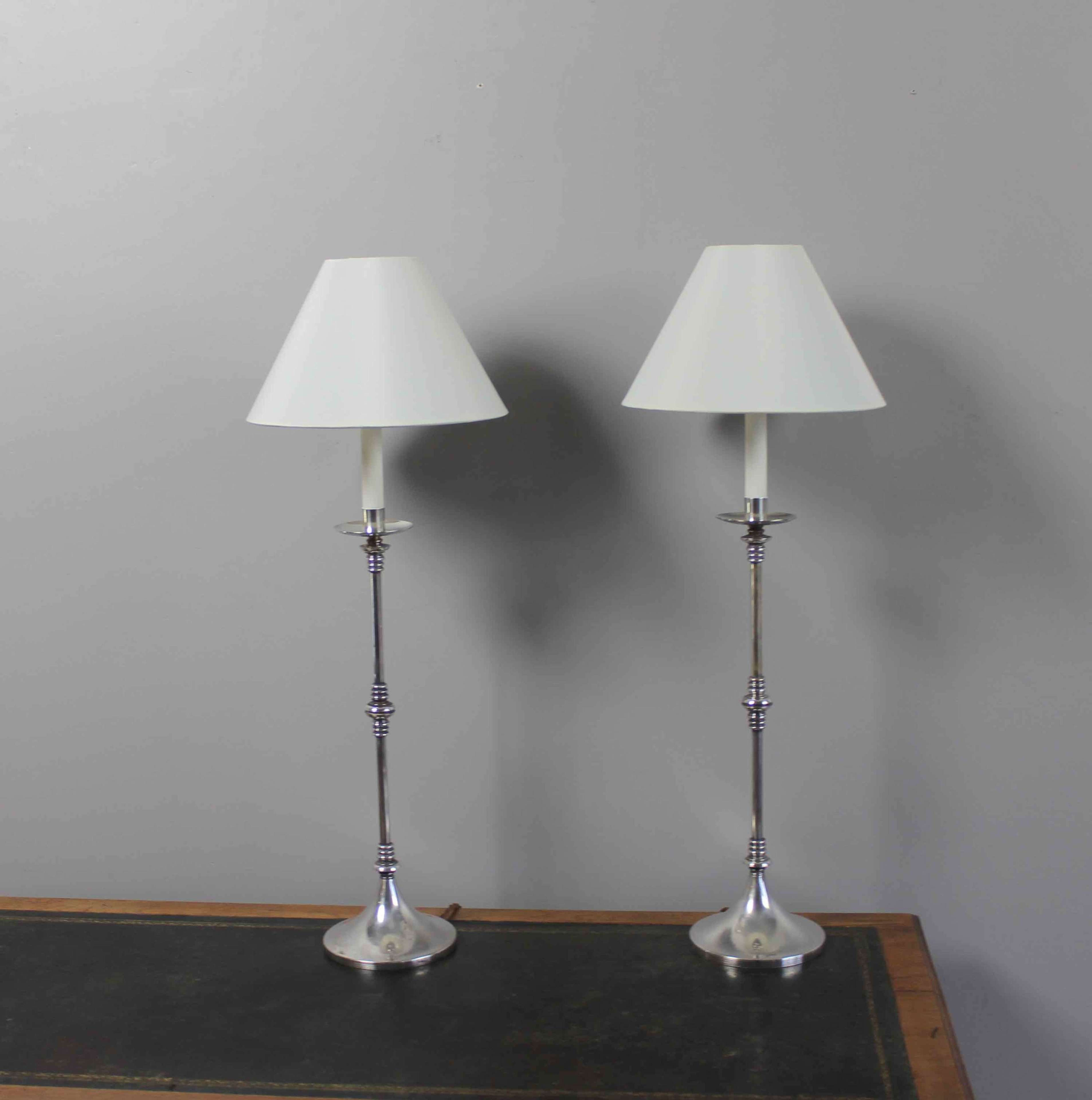 Pair Of Valenti Silver Plated Bedside Lamps In Antique Table Lamps