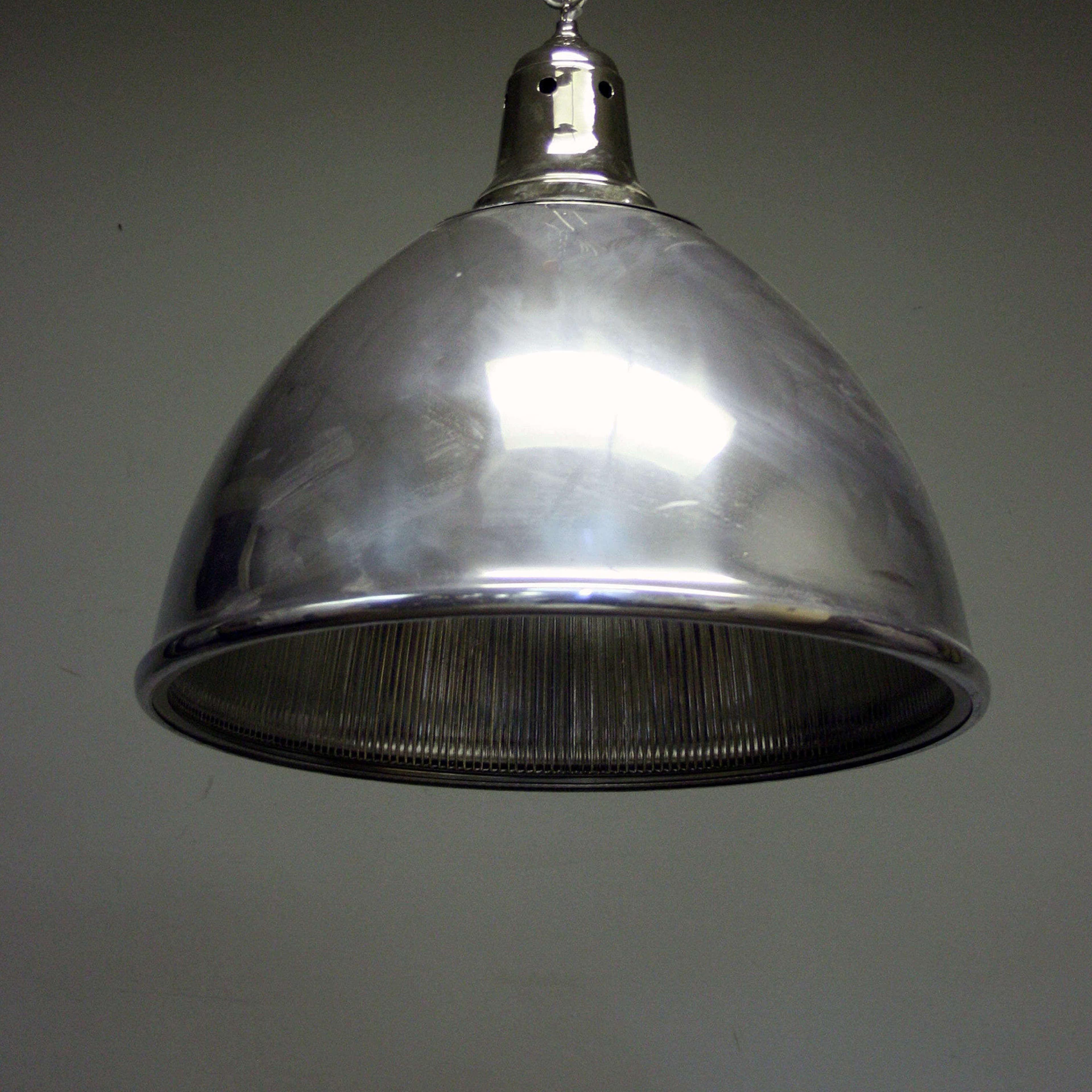 Polished Metal and Holophane Ceiling Light