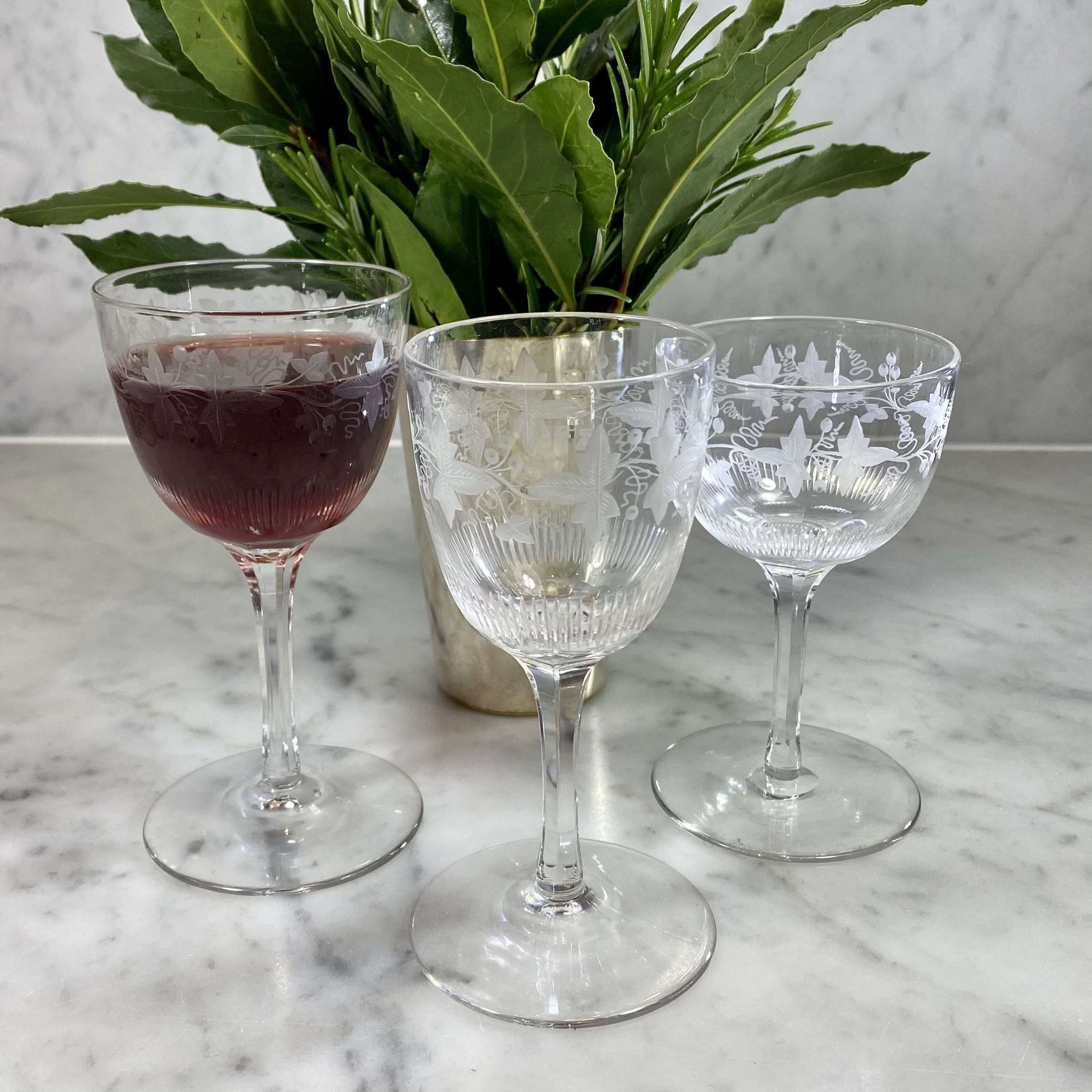 Three sets of six superb Victorian crystal After Dinner glasses