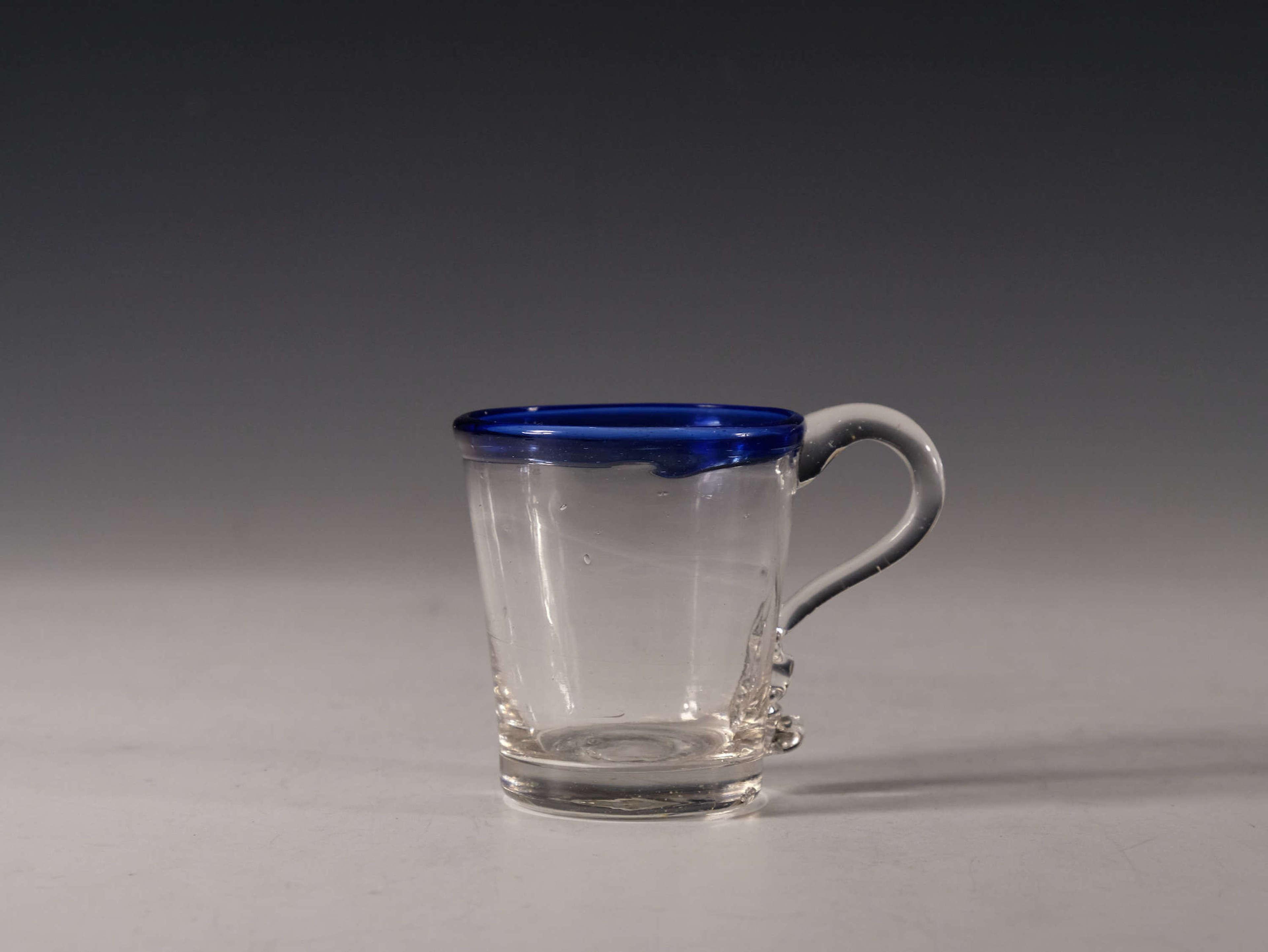 Antique punch cup blue rim C1820