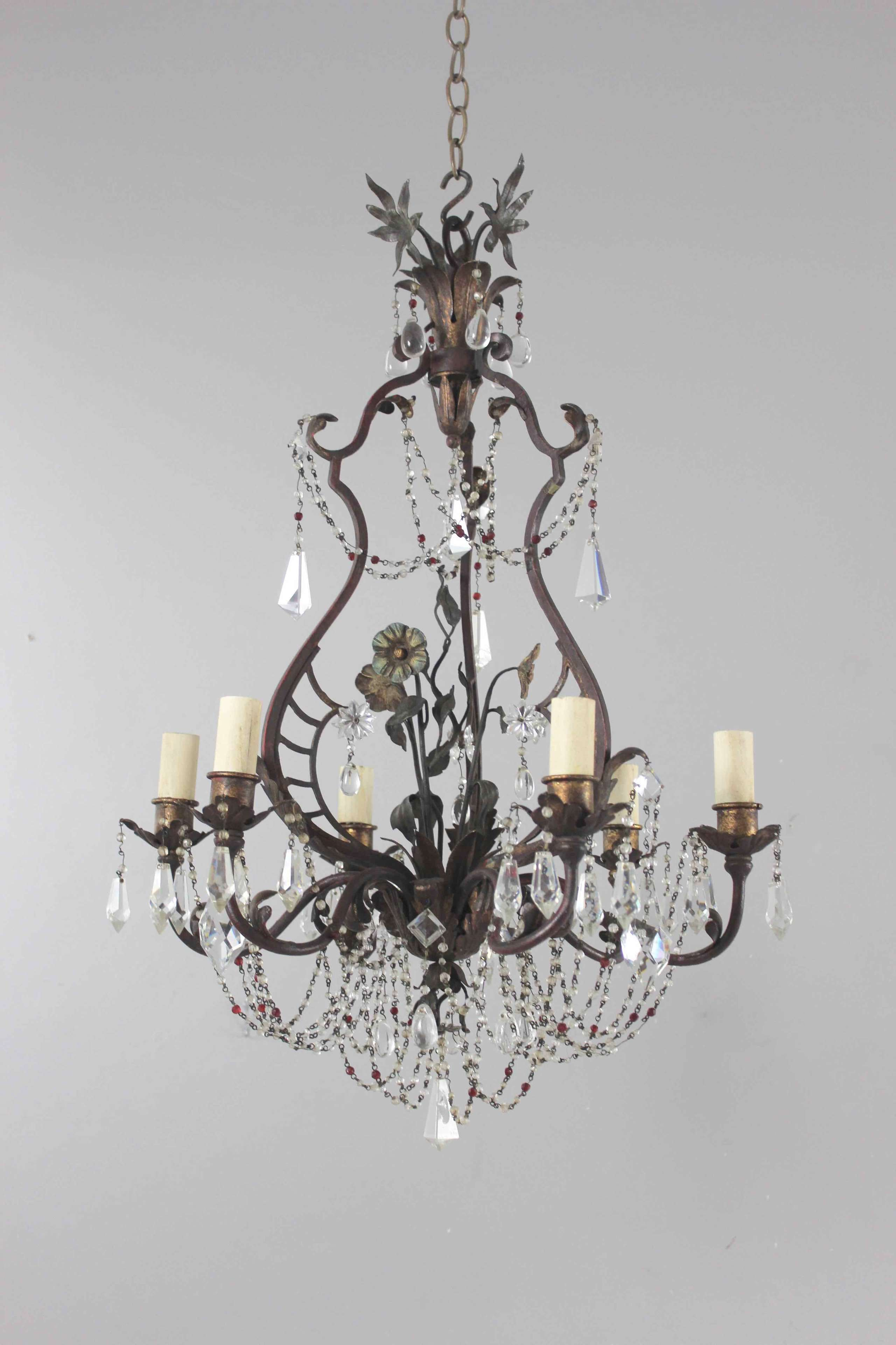 Italian polychrome and beaded antique chandelier