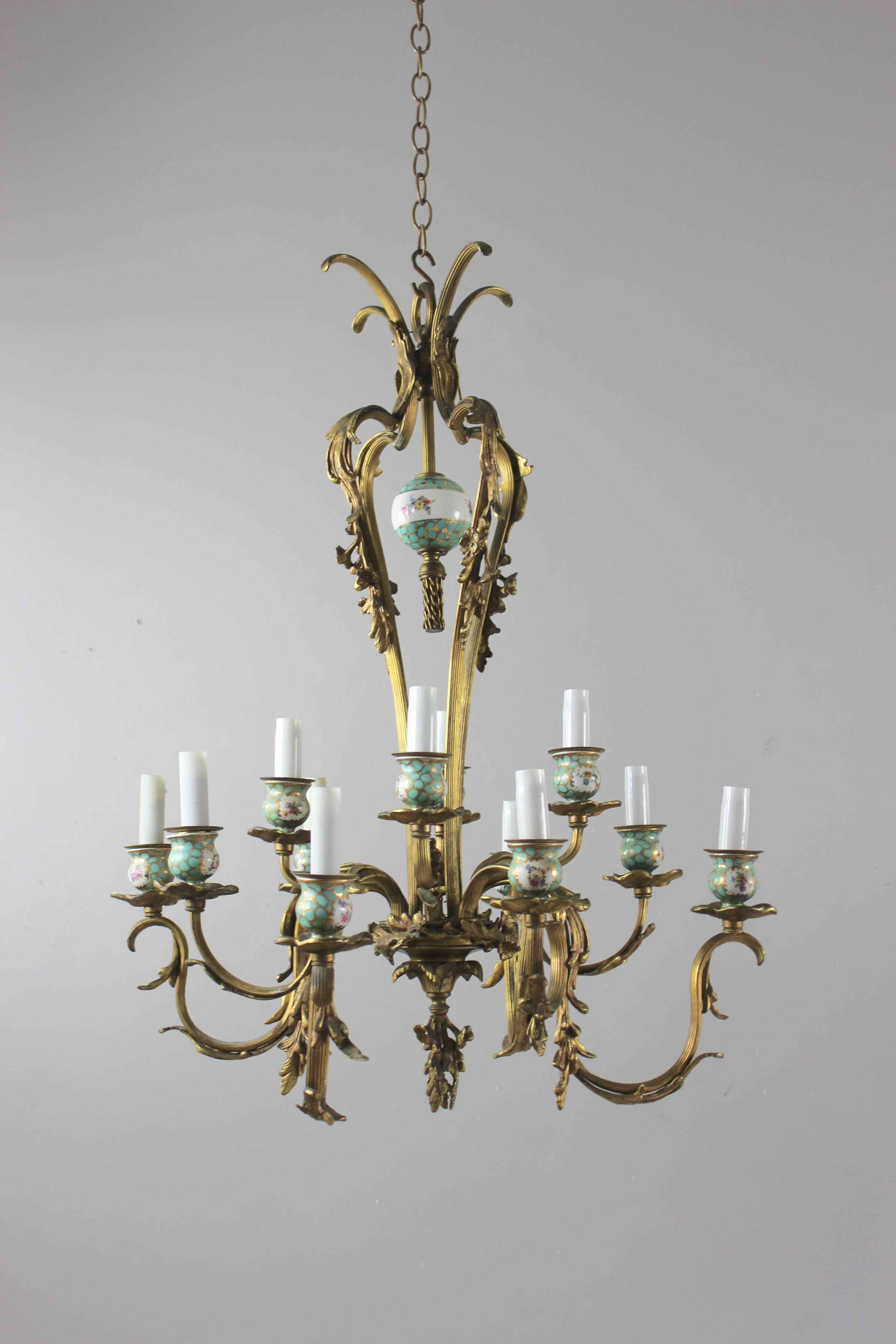 Brass and ceramic two tier antique chandelier