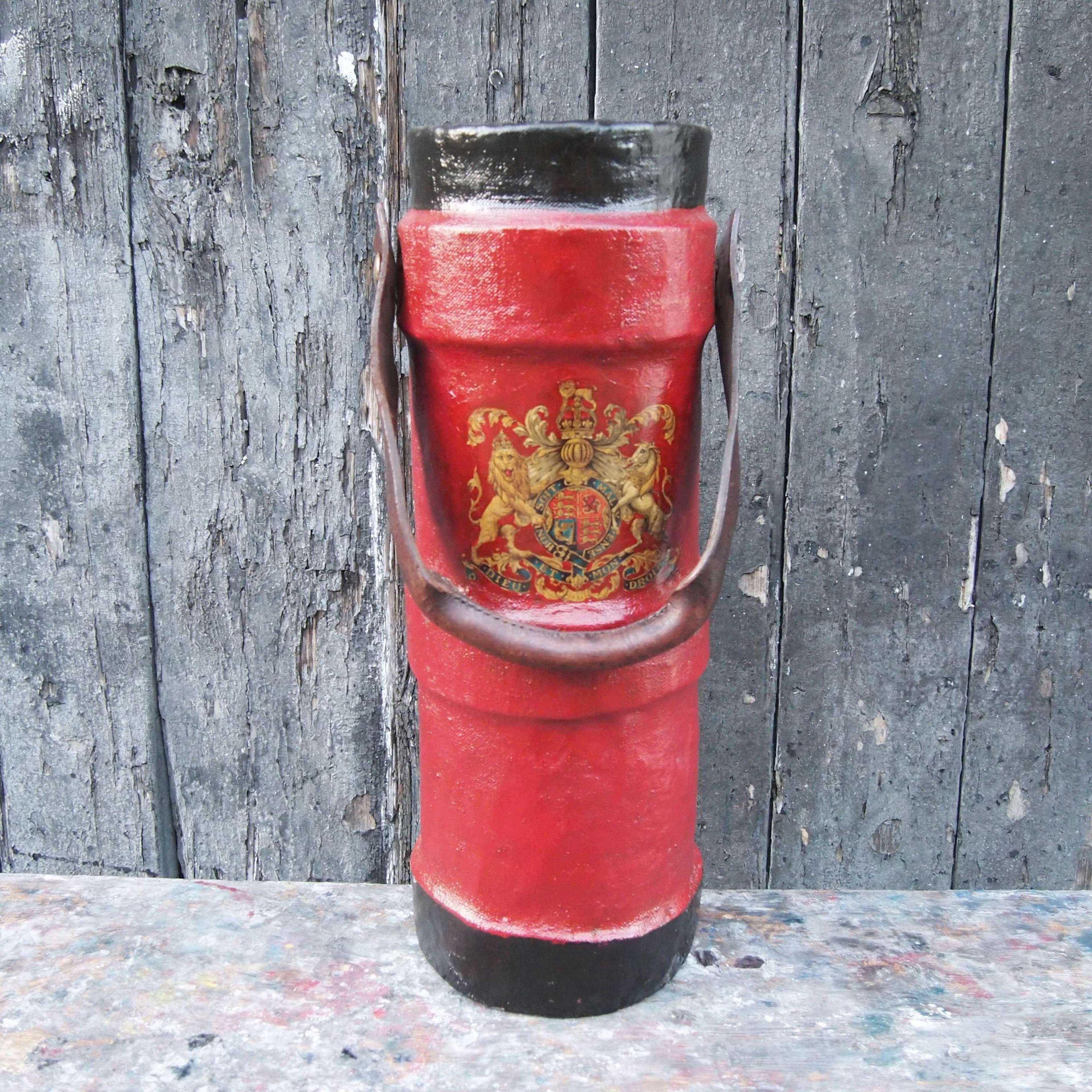 Red & Black Ammo Carrier , Umbrella Stand with Crest . W8616