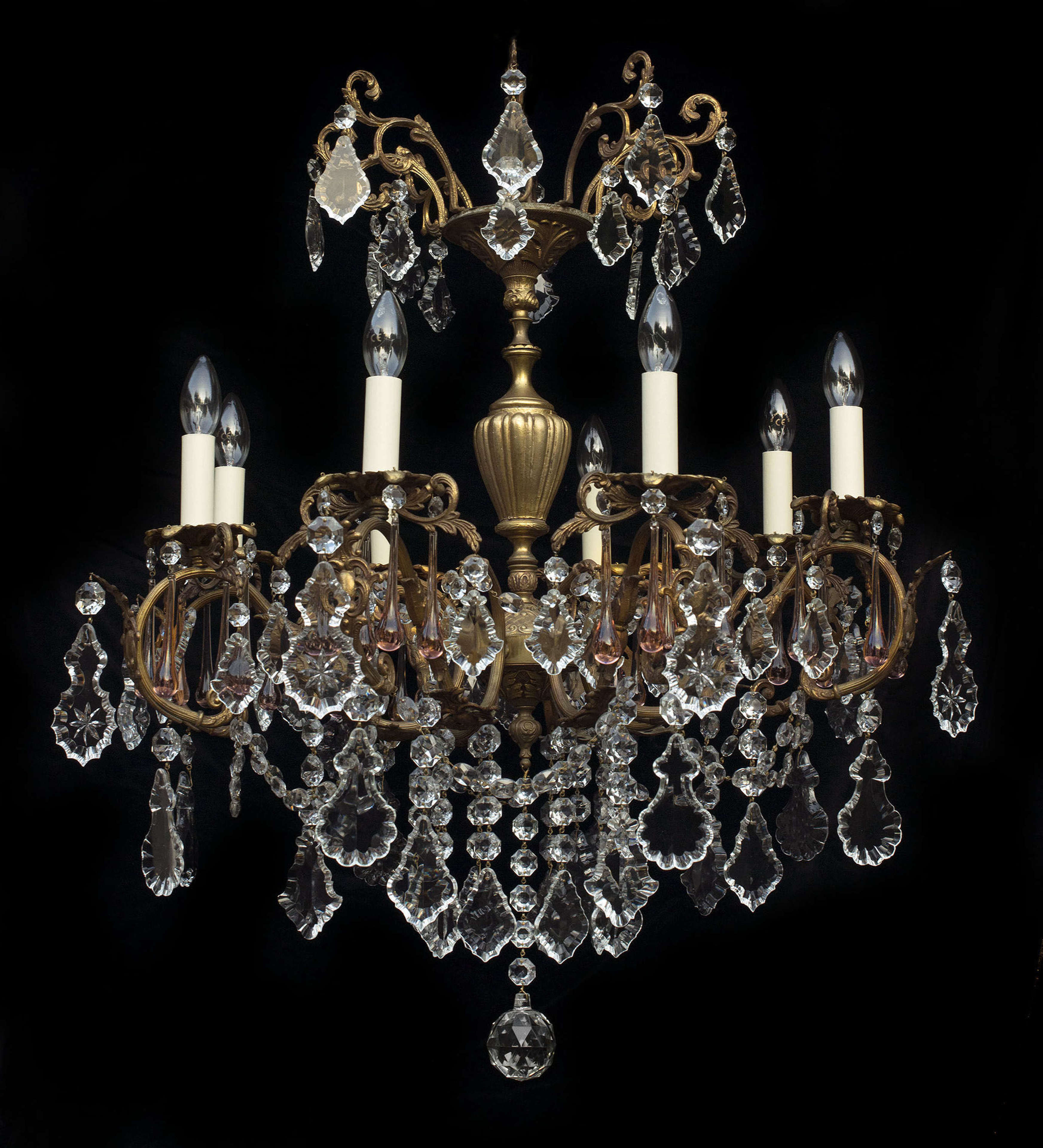 Large 8 light Italian antique chandelier with pale pink teardrops