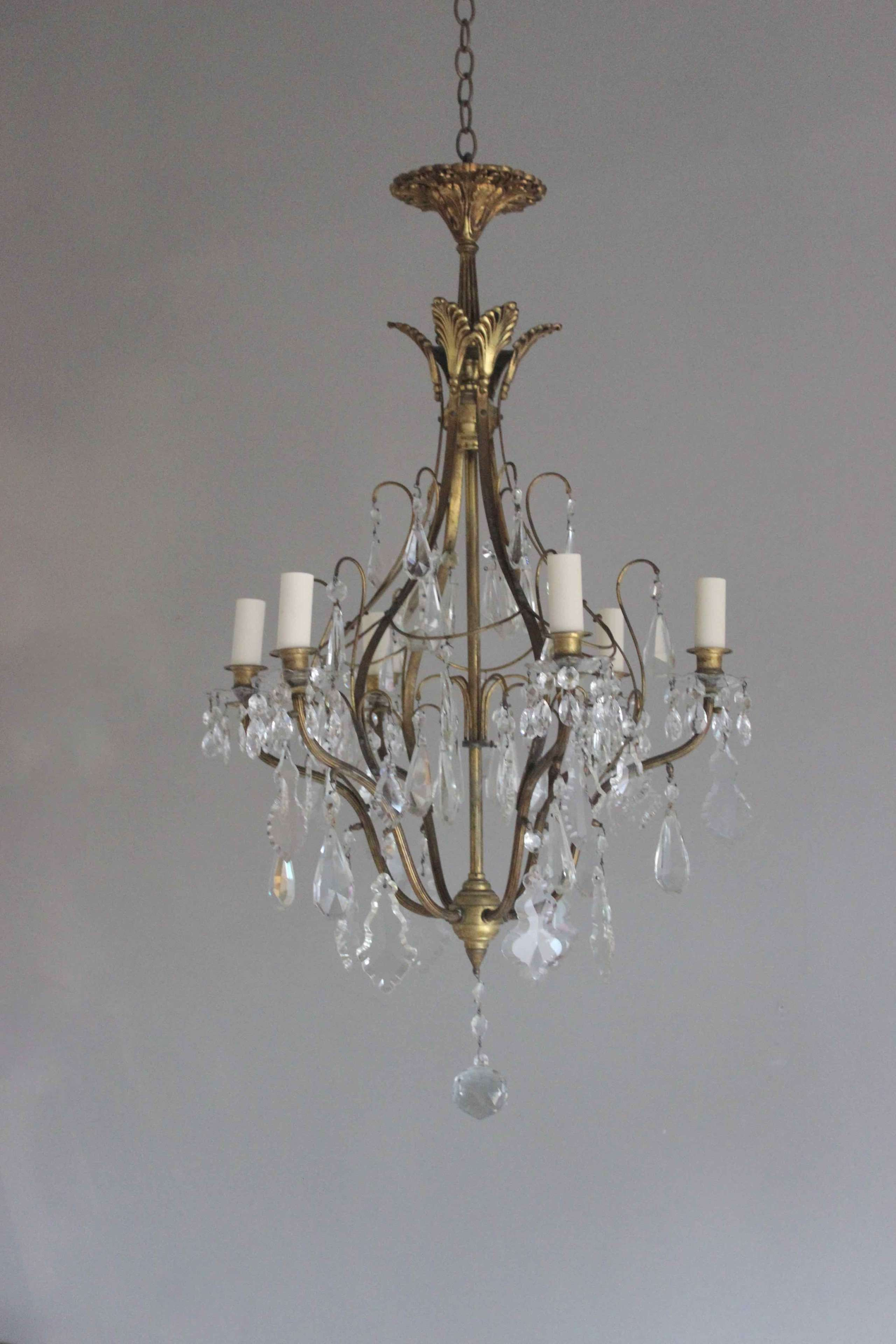 French gilded brass and crystal chandelier