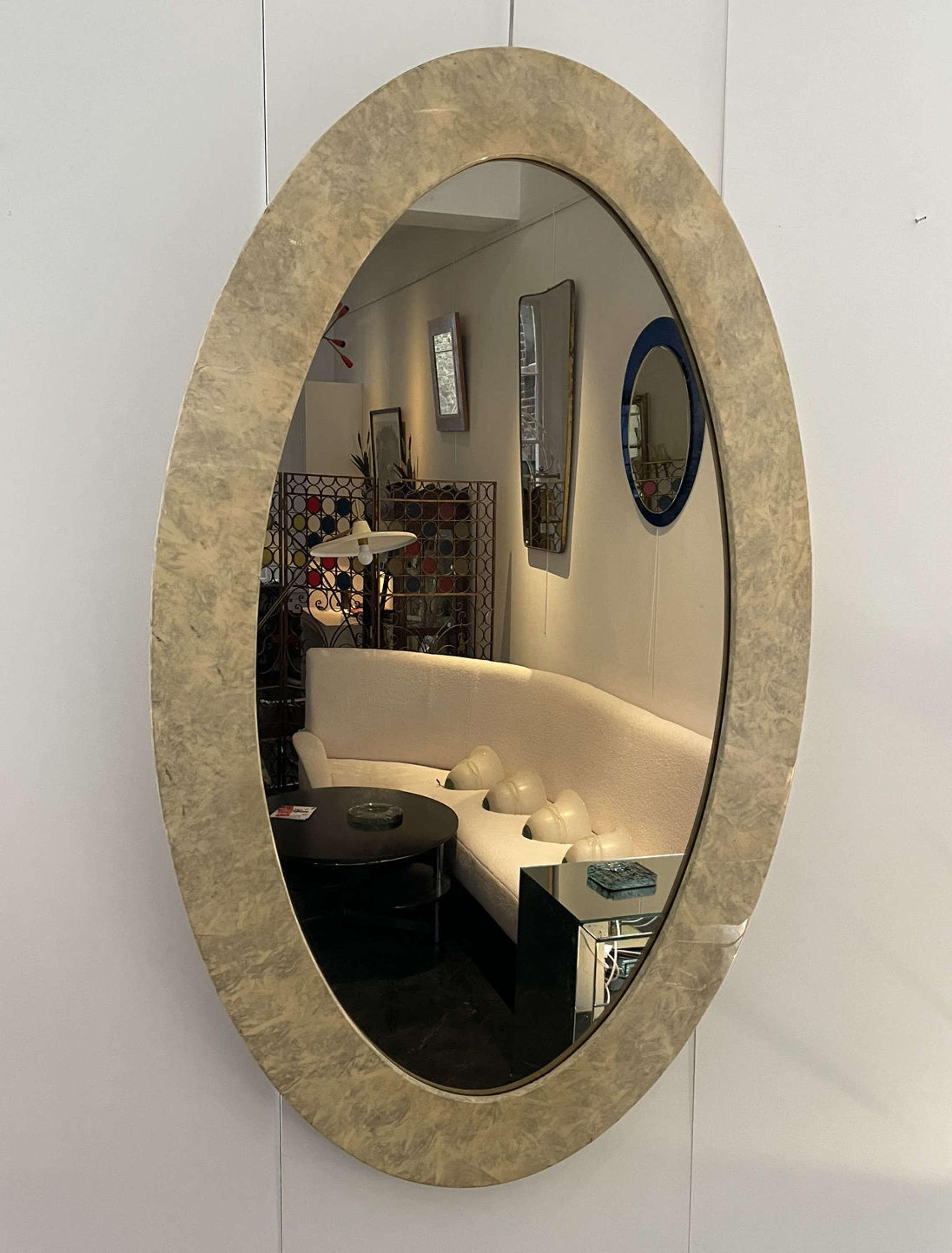Italian large Mid Century Oval Parchment Mirror