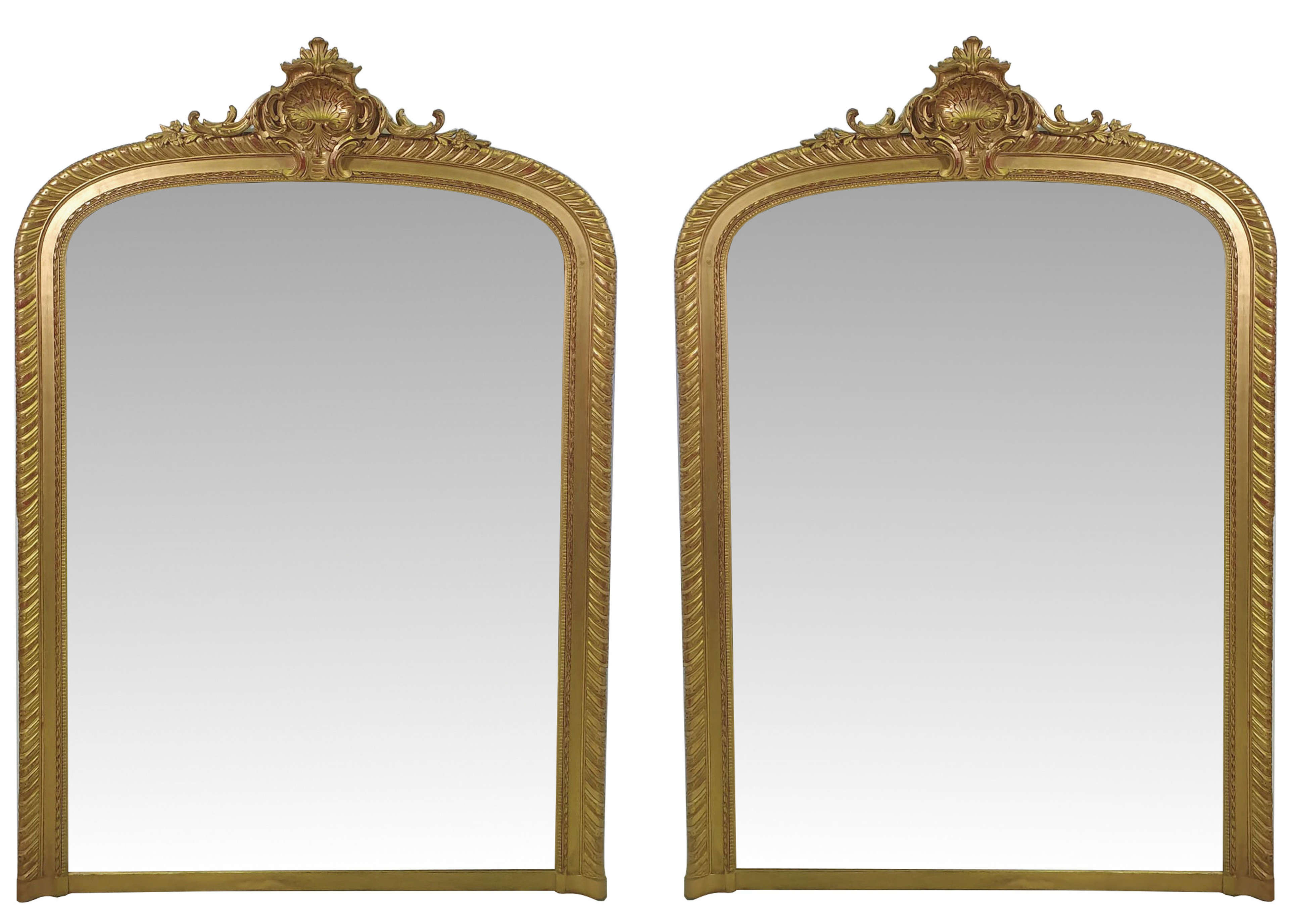 Very Rare Pair of 19th Century Large Gilt Overmantle Mirrors