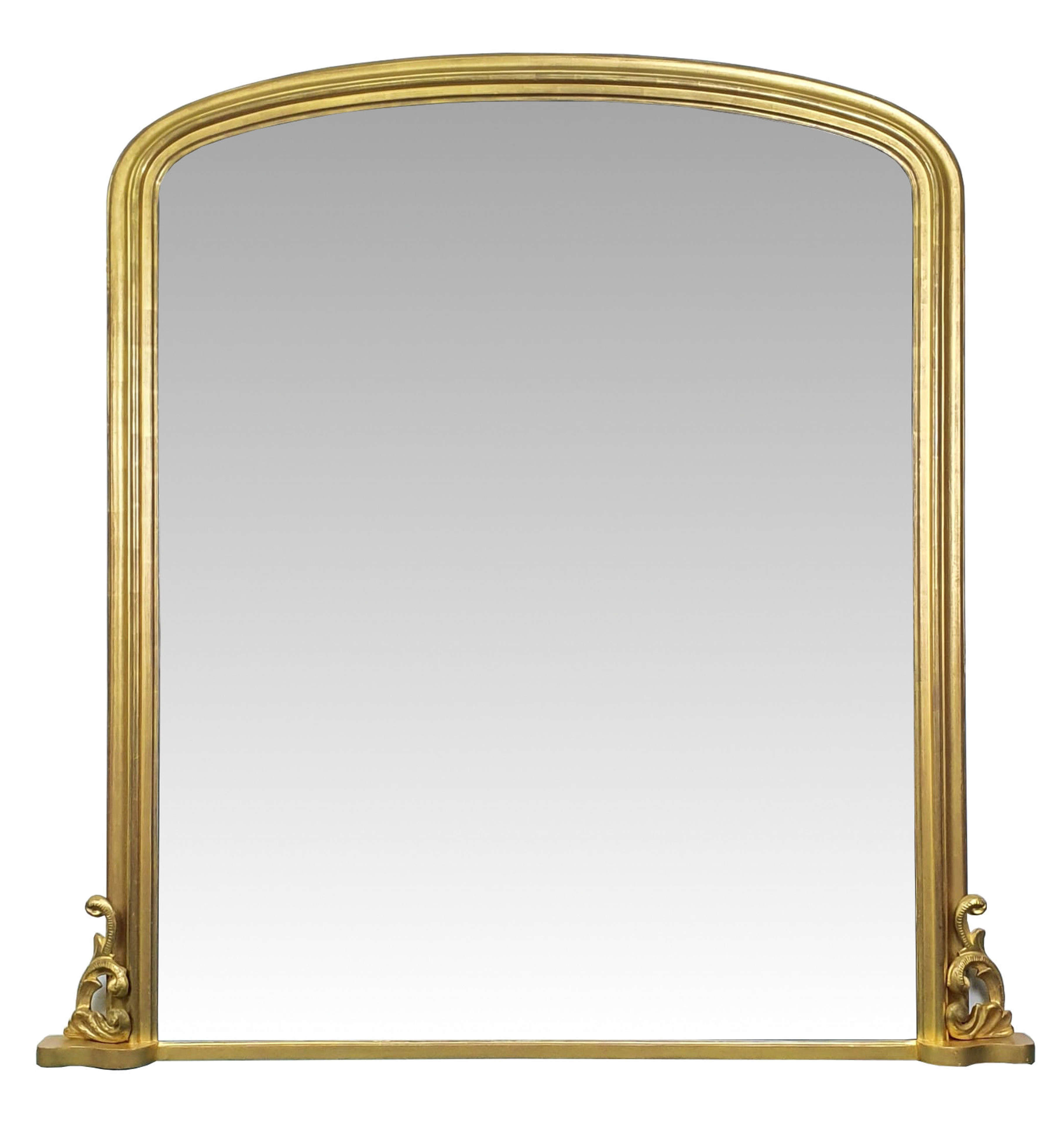 Large Size 19th Century Gilt Arch Top Overmantle Mirror