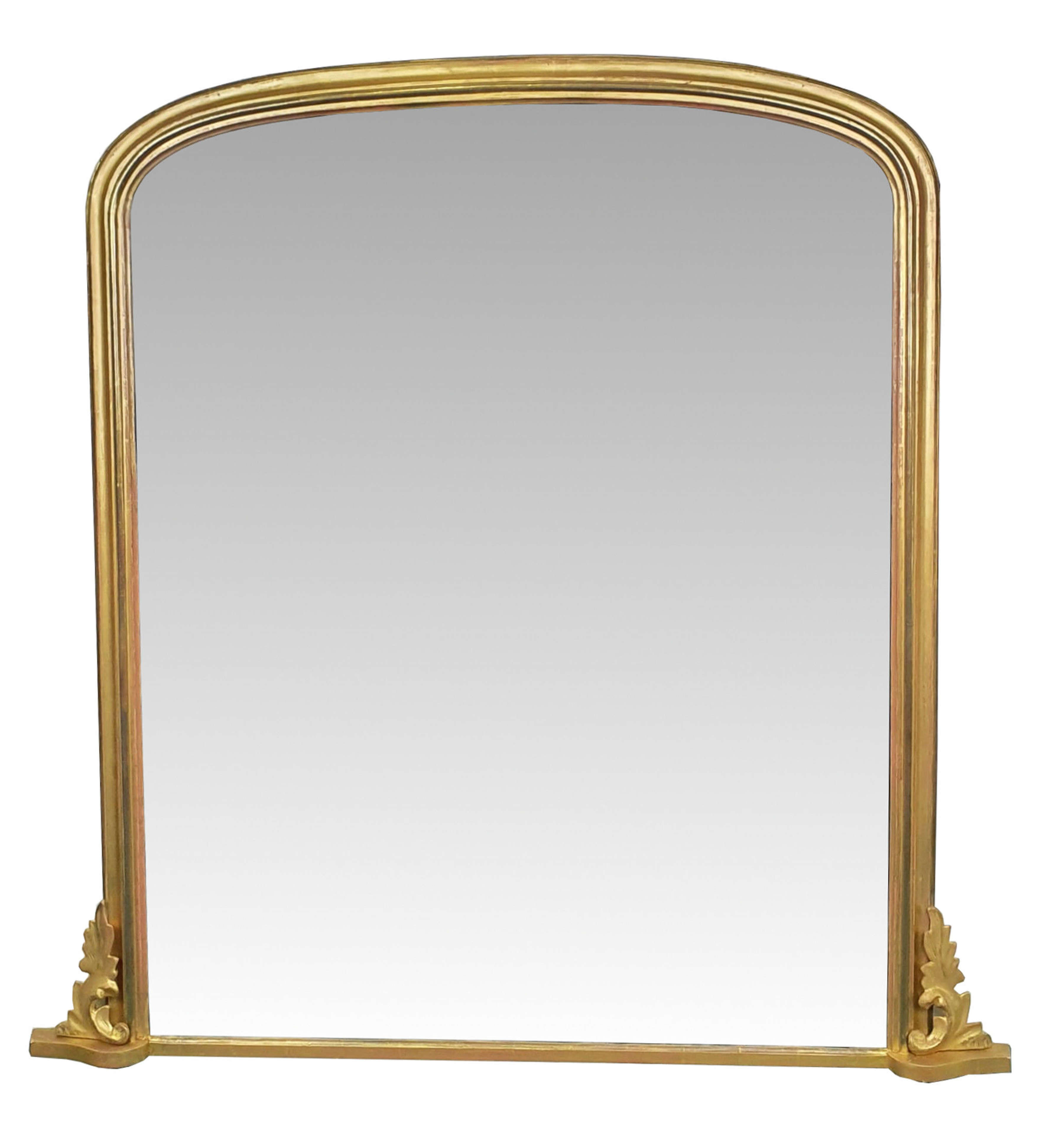19th Century Gilt Arch Top Overmantle Mirror
