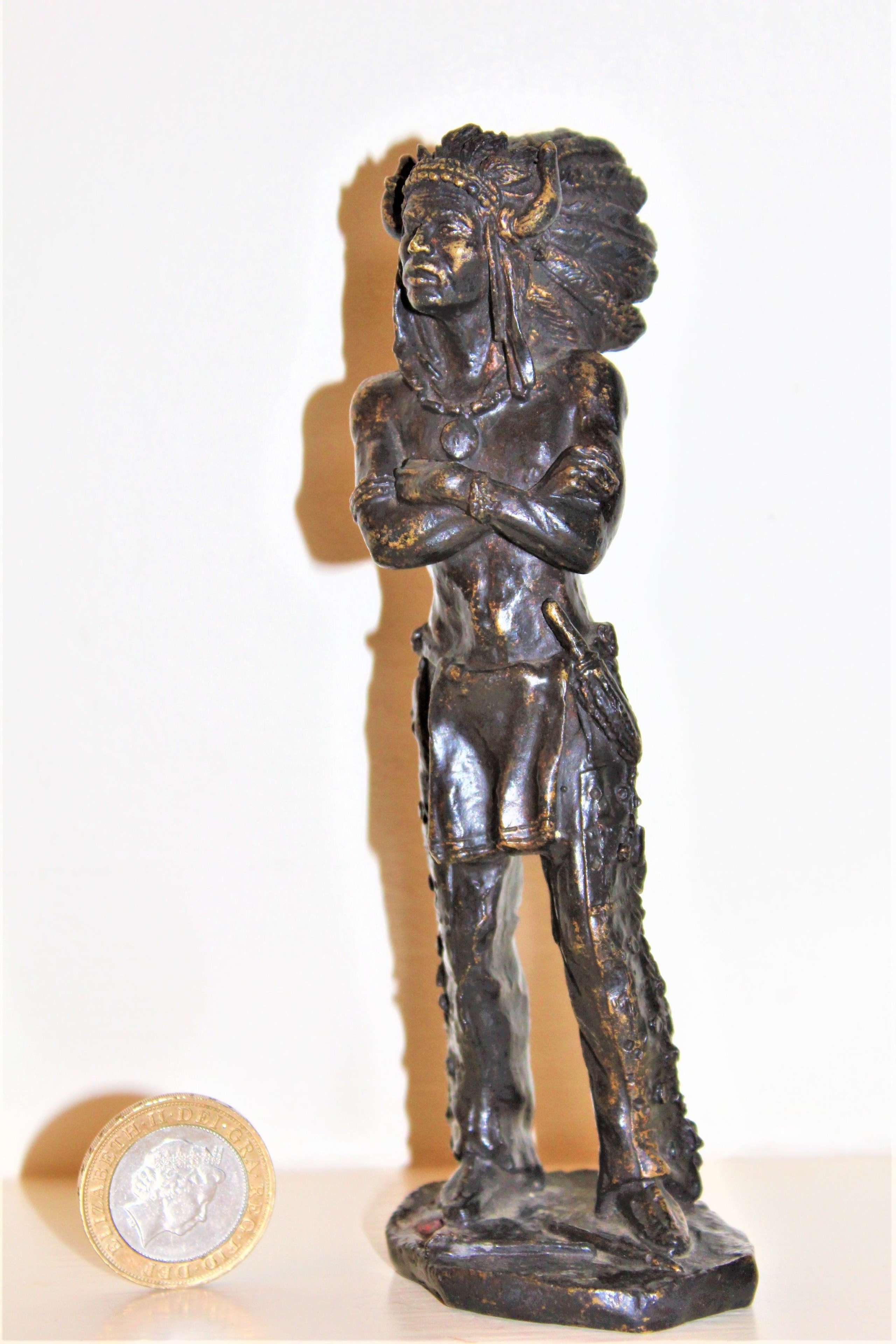 A well cast bronze figure of a red Indian possibly French