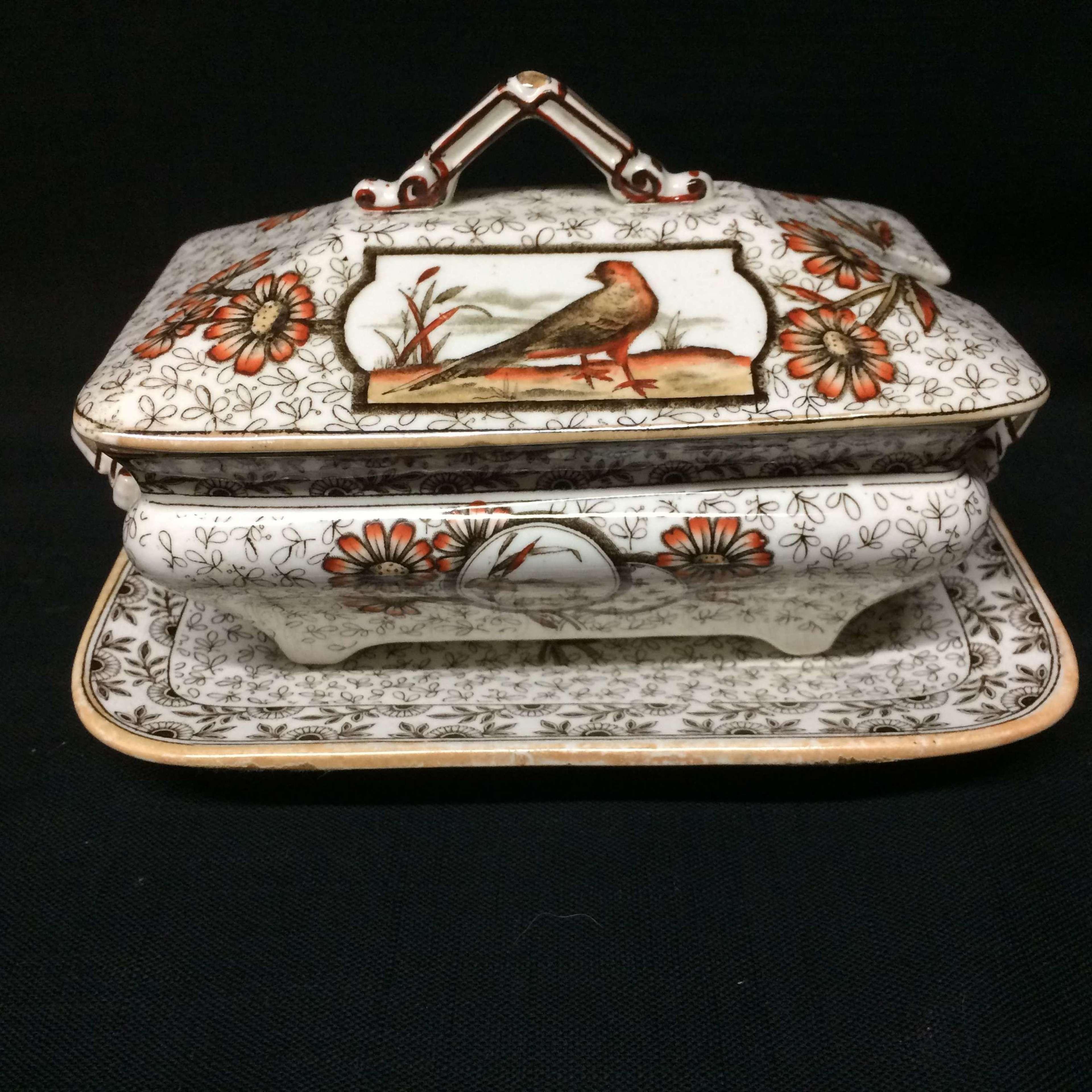 Aesthetic Movement Victorian Sauce Tureen & Platter ~ DEVONSHIRE 1885