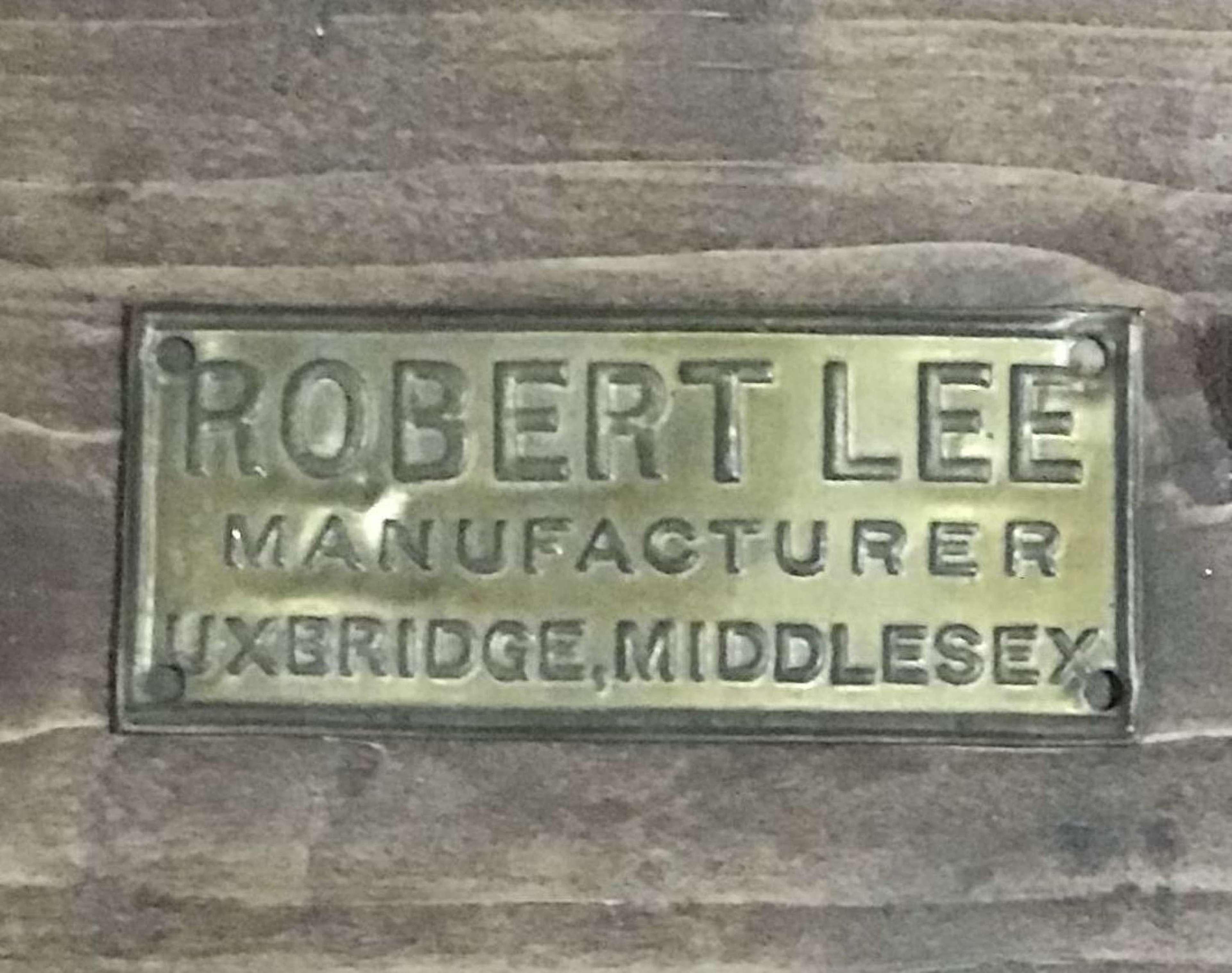 Brass Manufacturers Label for Robert Lee of Uxbridge Middlesex