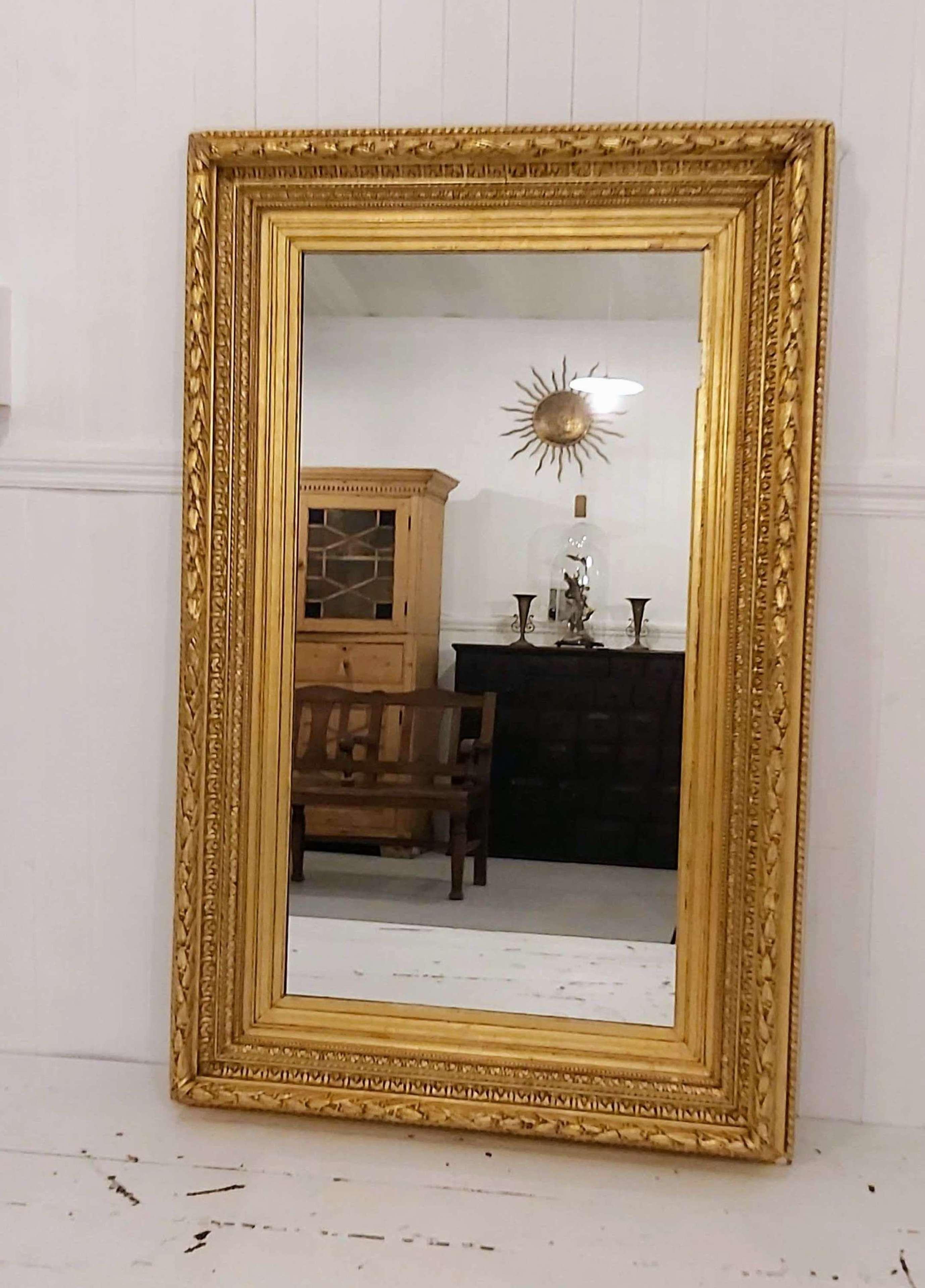 19th century rectangular gilt and gesso mirror