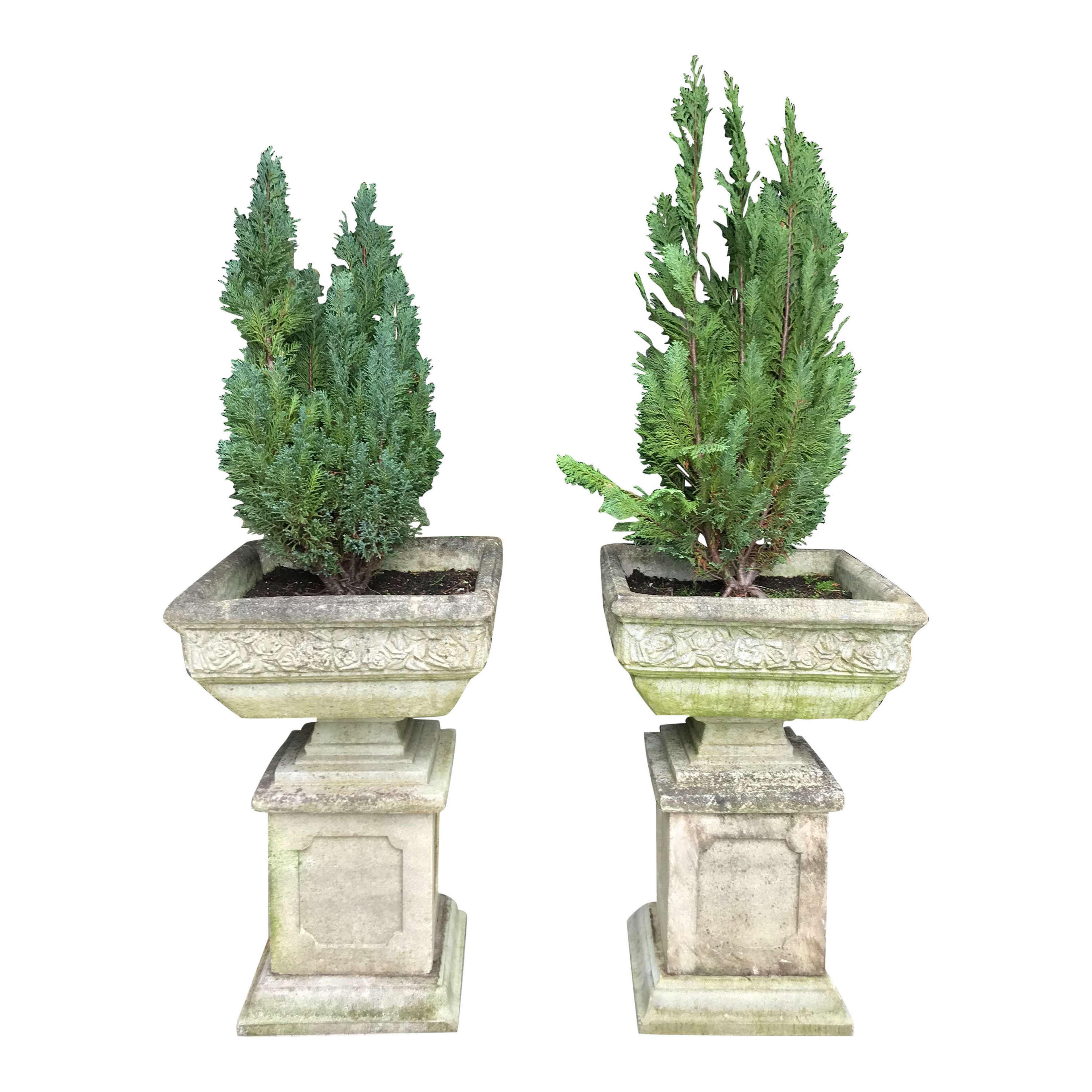 Pair of 20th Century Recon Stone Garden Planters on Plinths