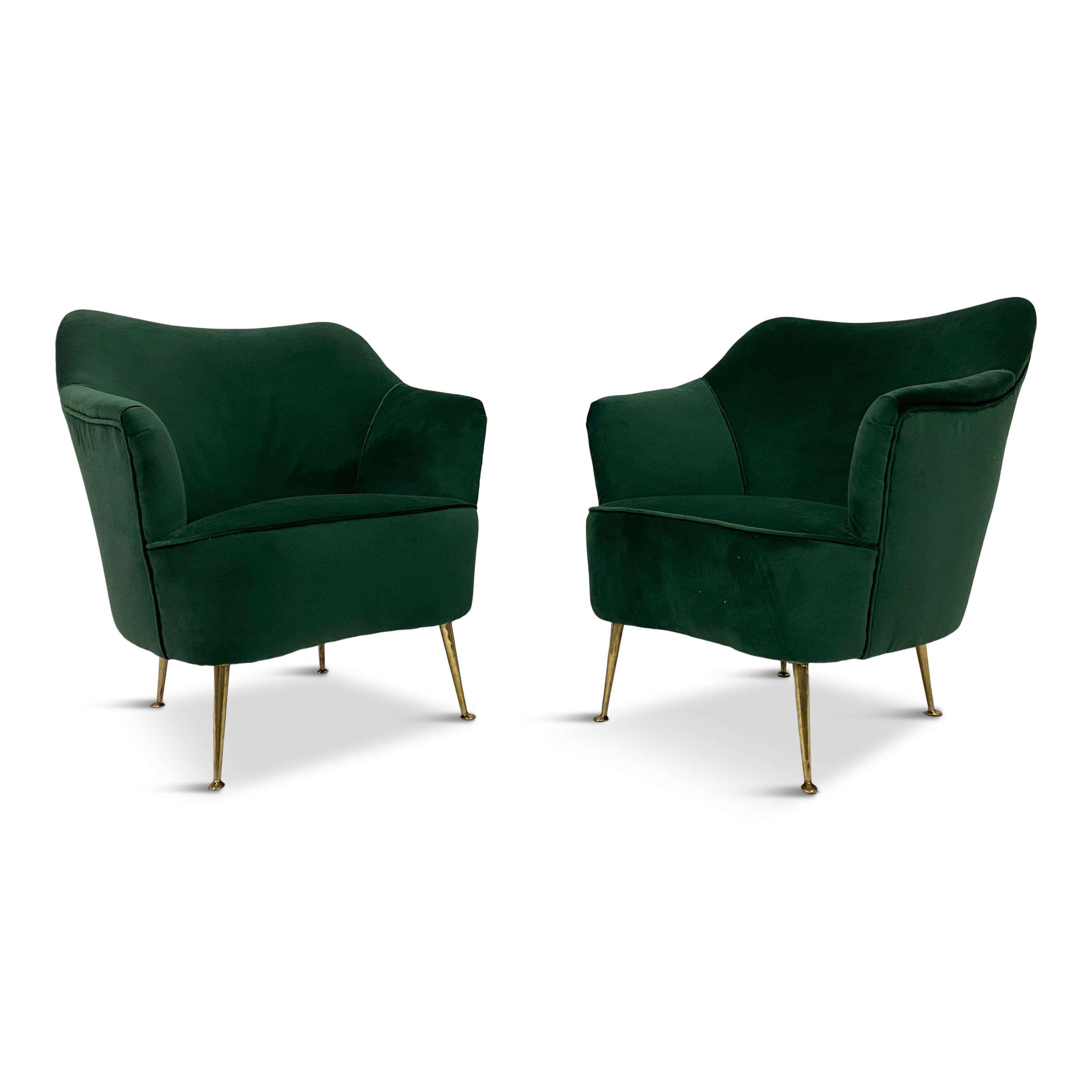 Pair of 1950s Italian Armchairs in Green Velvet