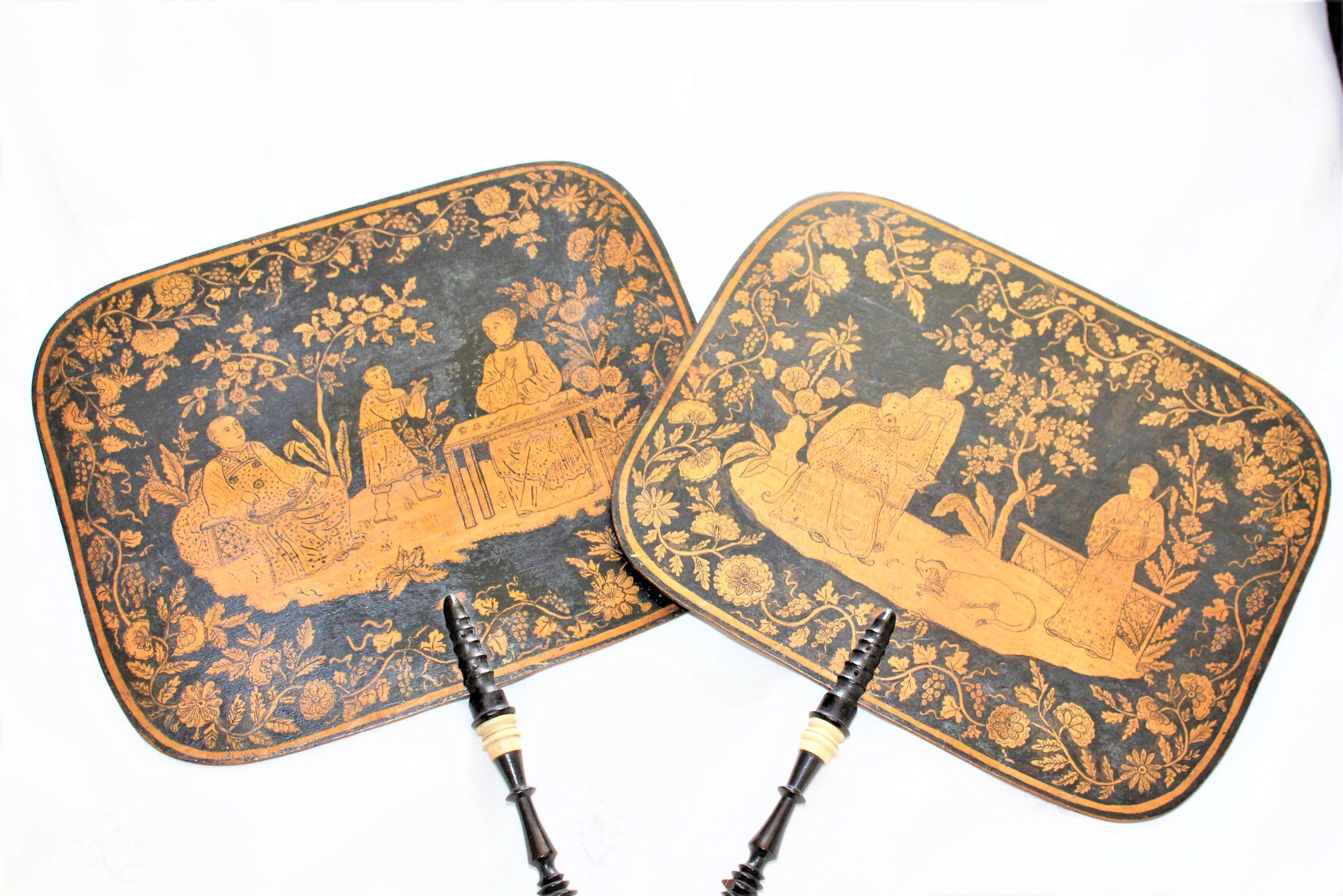 A fine pair of Regency penwork face screens in the chinoiserie style