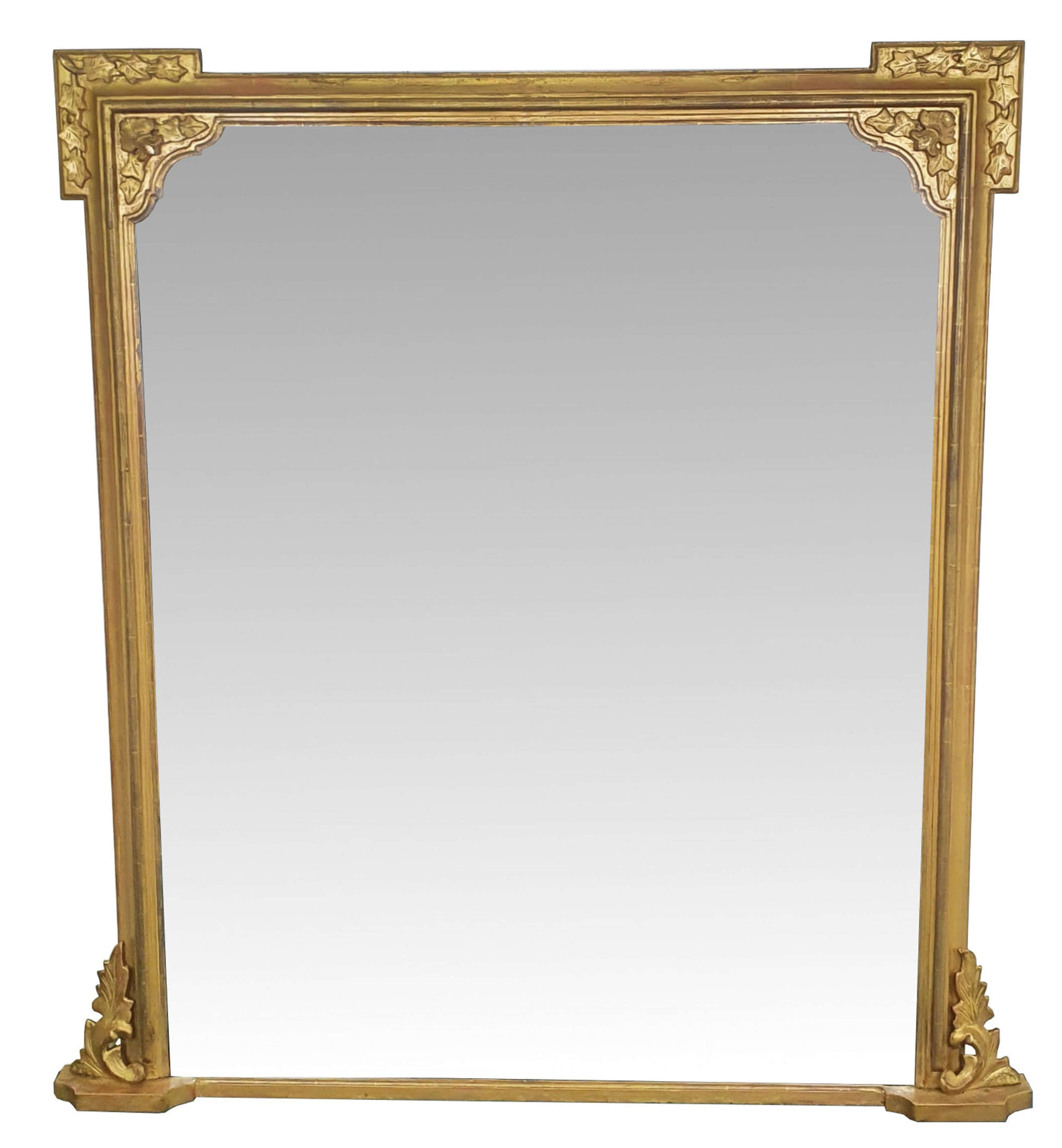 19th Square Top Gilt Overmantle Mirror