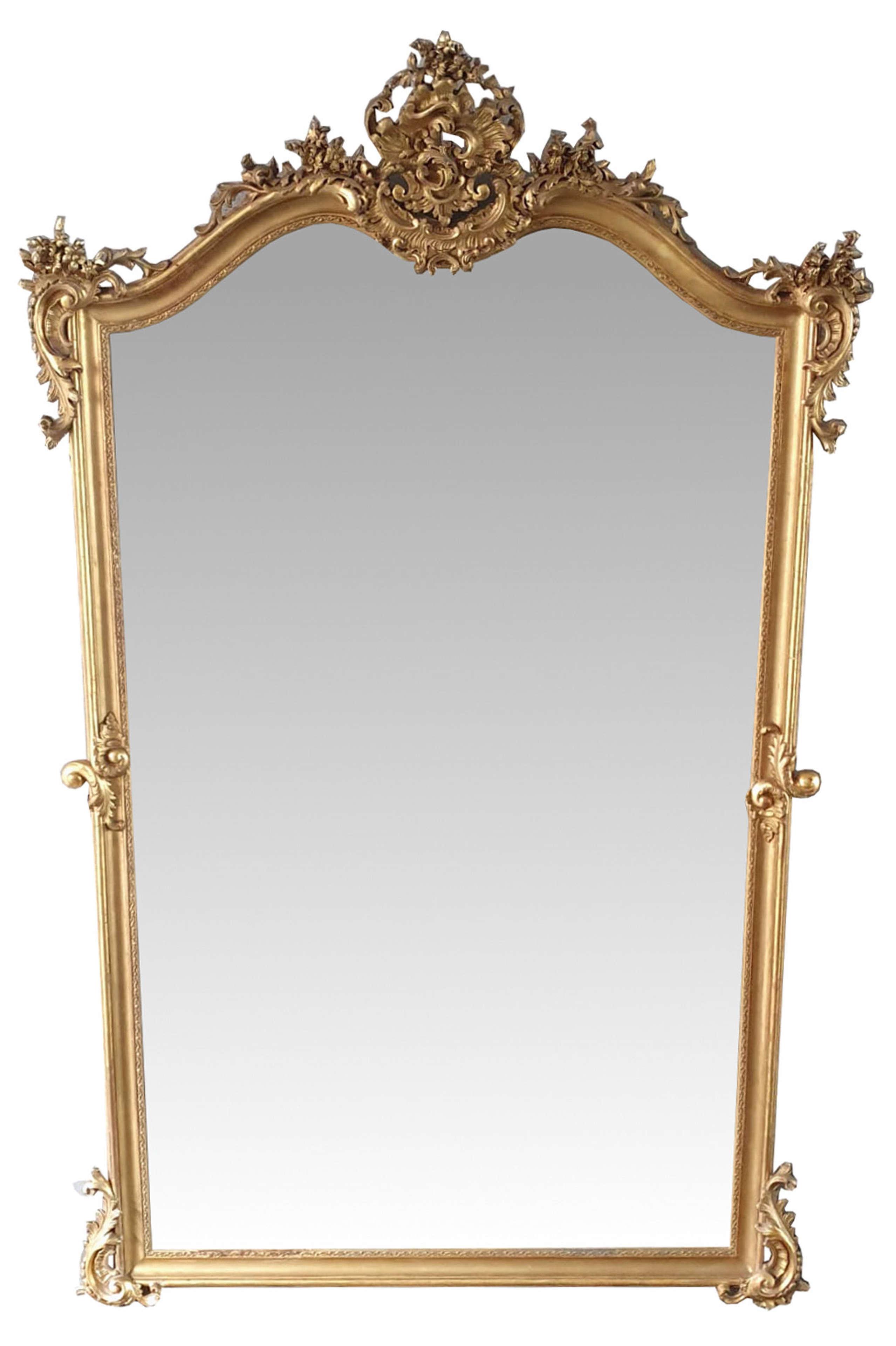 Tall 19th Century Gilt Dressing or Hall Mirror