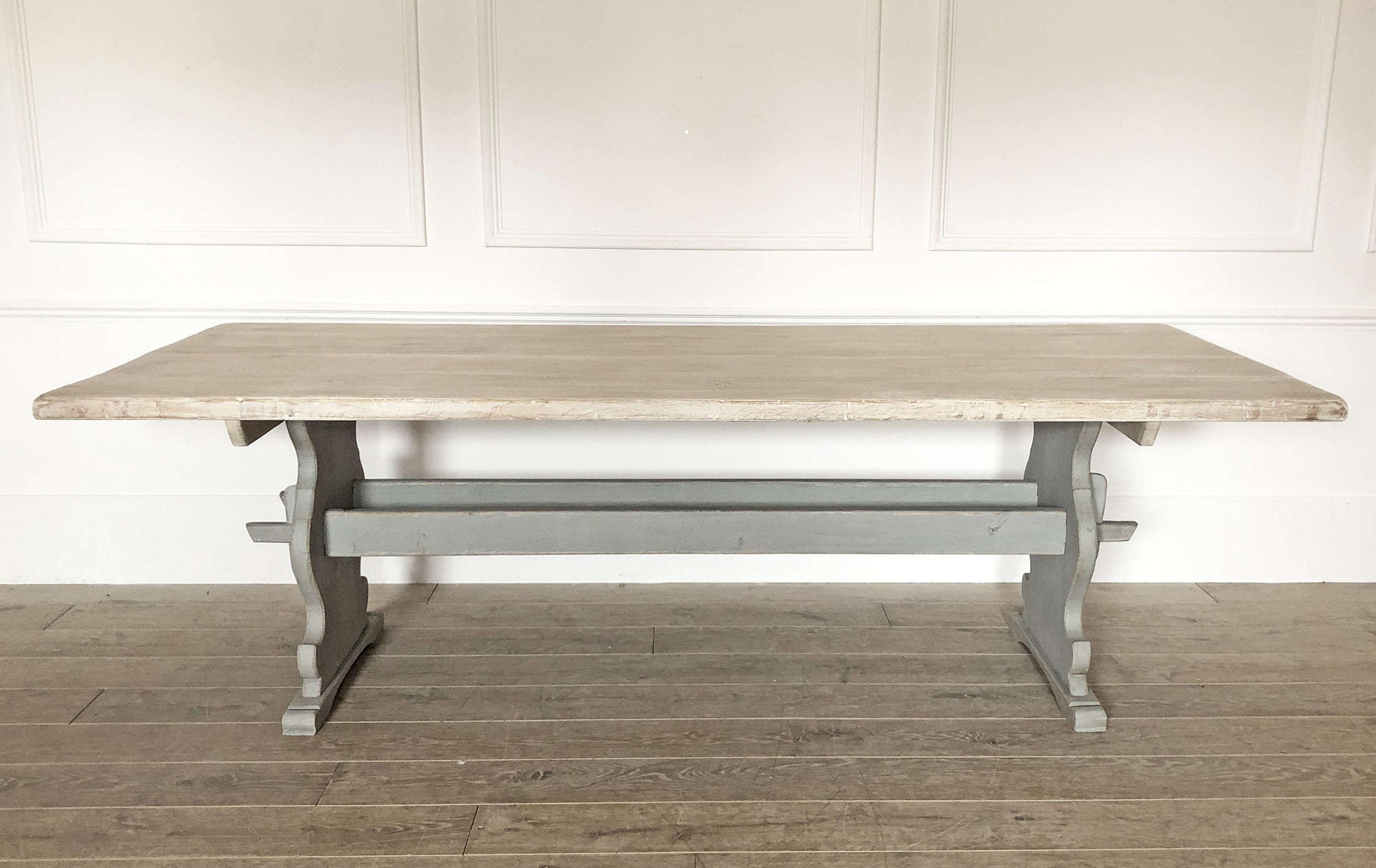 19thc Swedish long Oak Dining Table on double stretcher base c 1850
