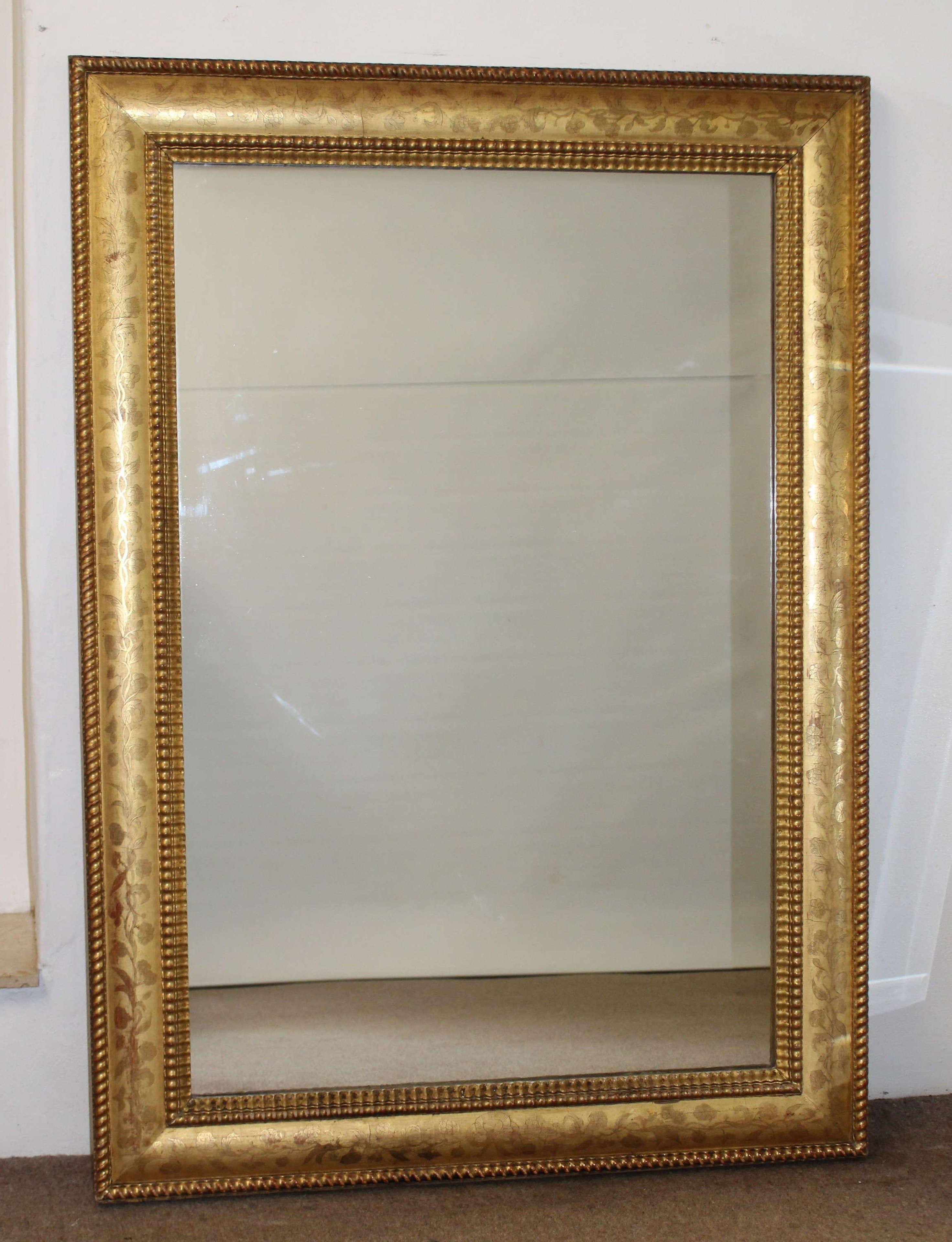 Superb antique etched gilt framed mirror