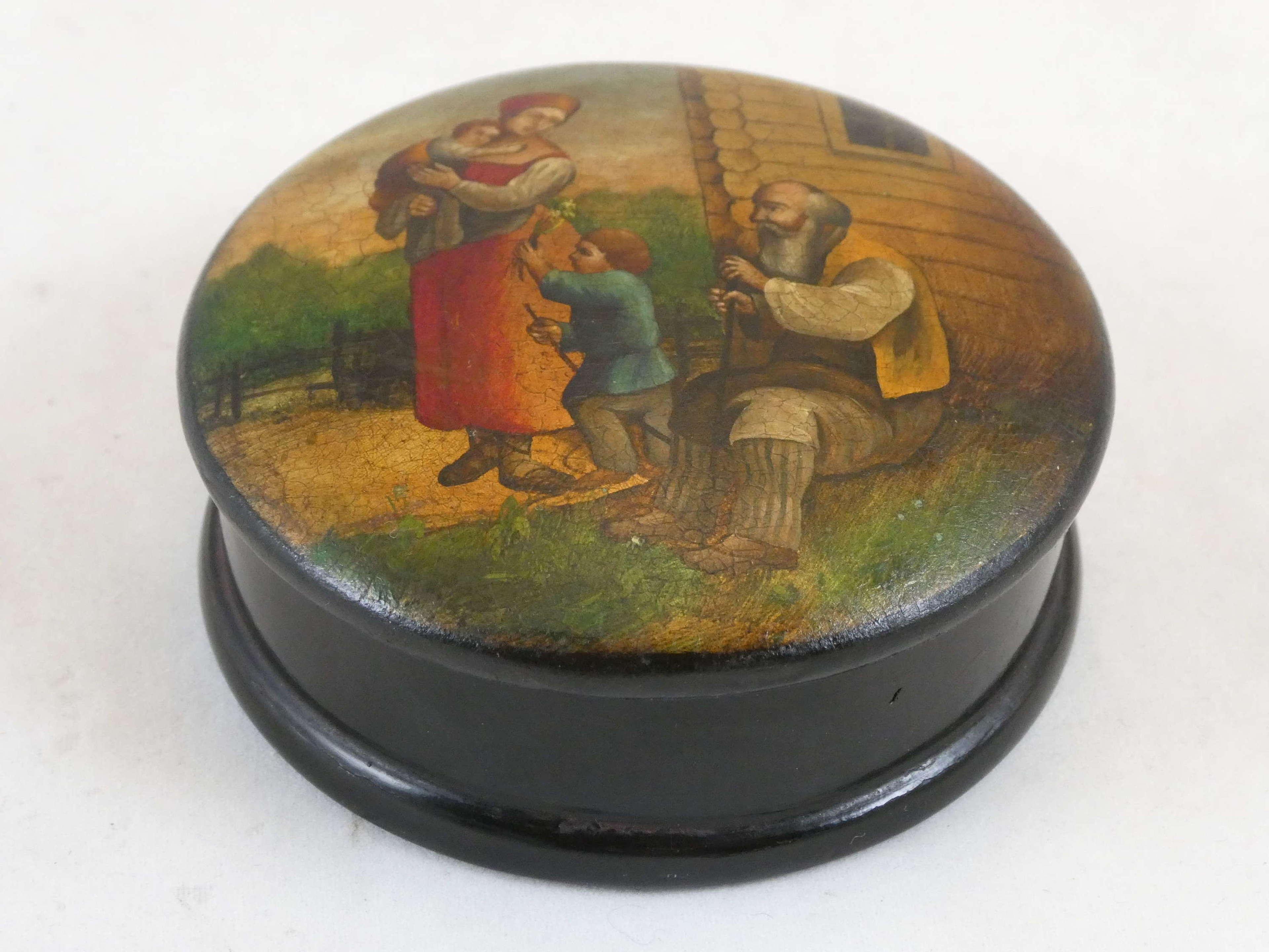 19th Century Papier Maché Russian Box