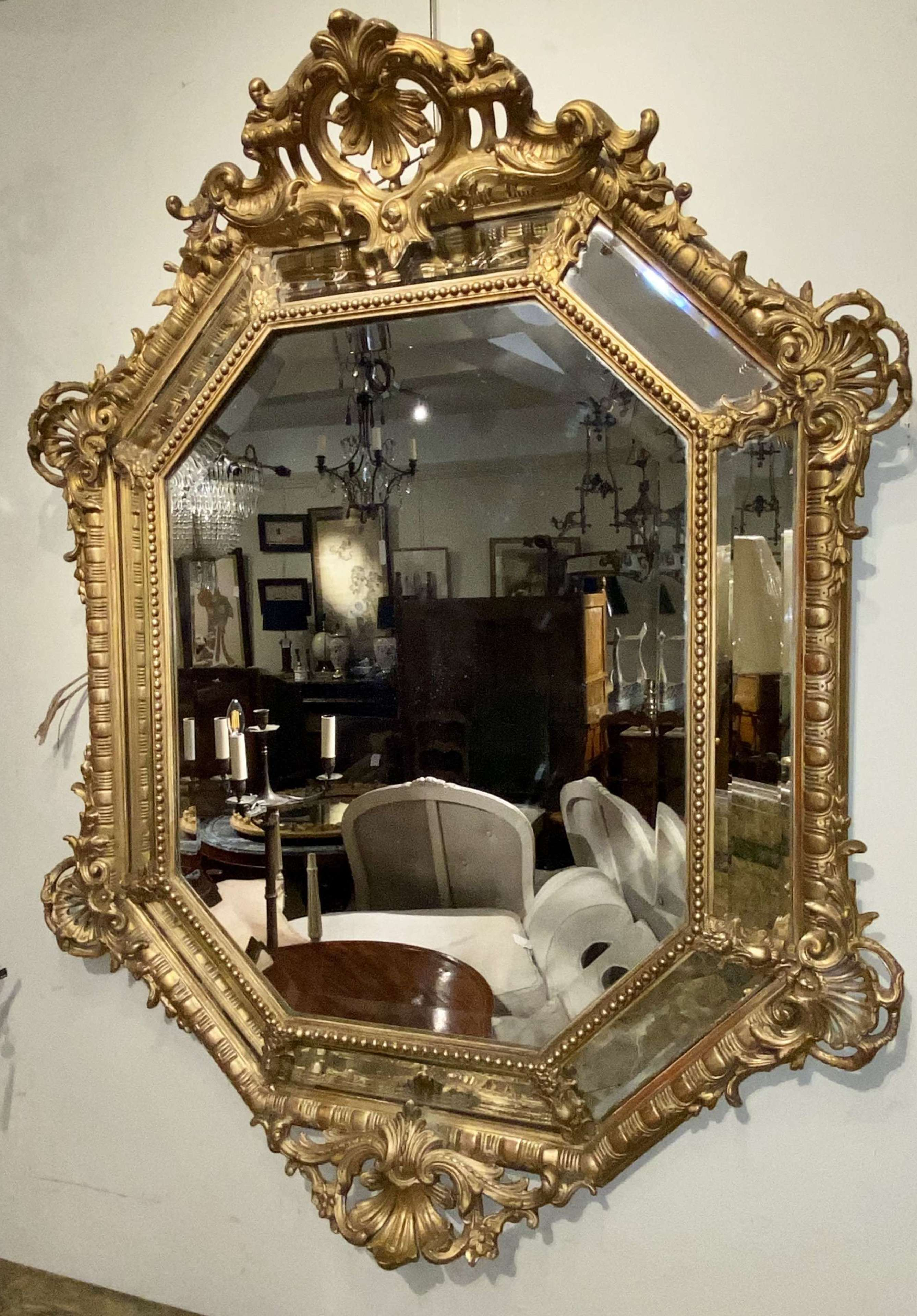French gilt cushion mirror